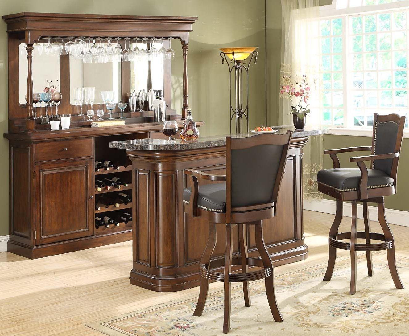 Preston Distressed Walnut Bar Set 5810 35 T B Eci Furniture