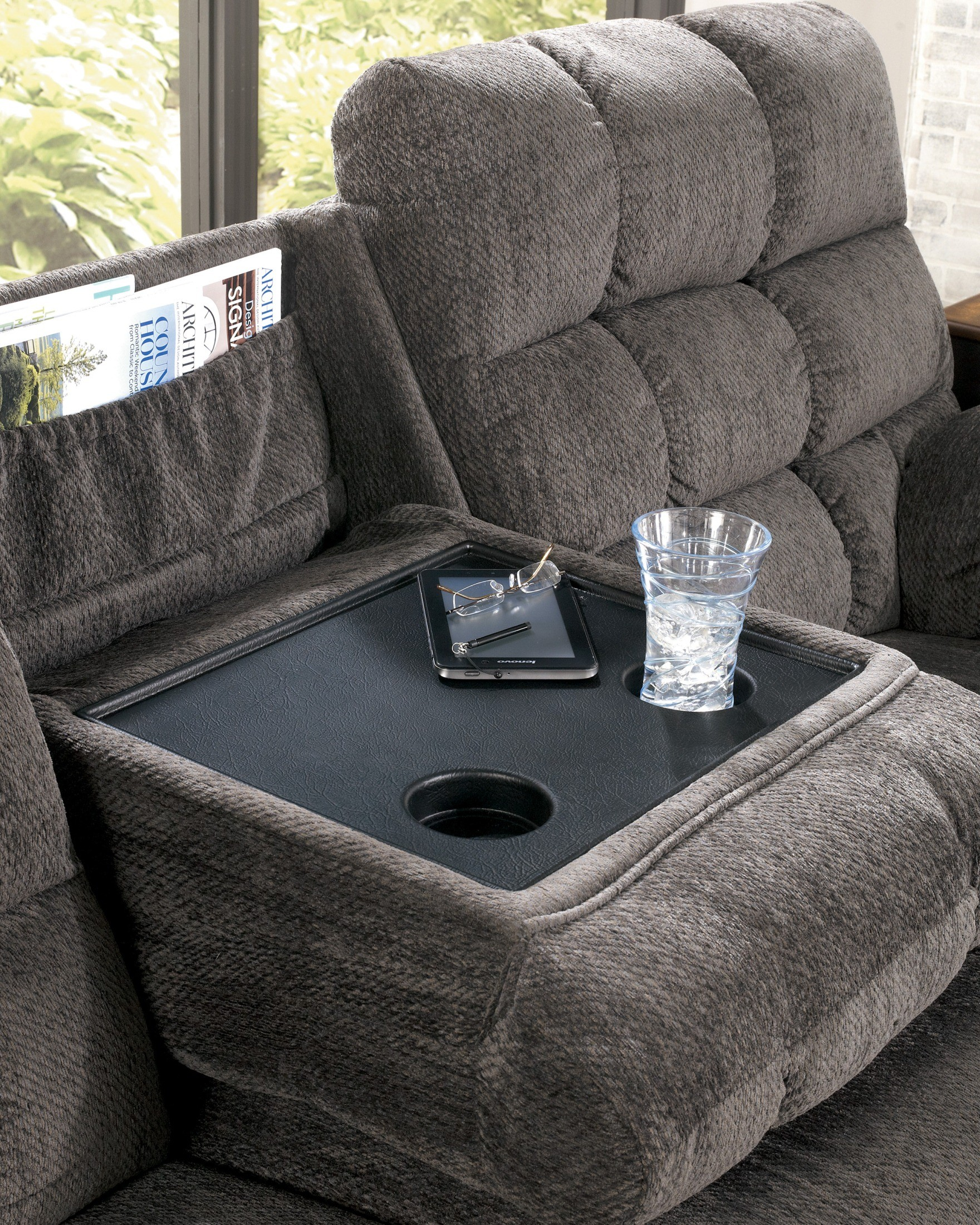 Acieona slate reclining sofa with drop down table from for Sectional sofa with drop down table