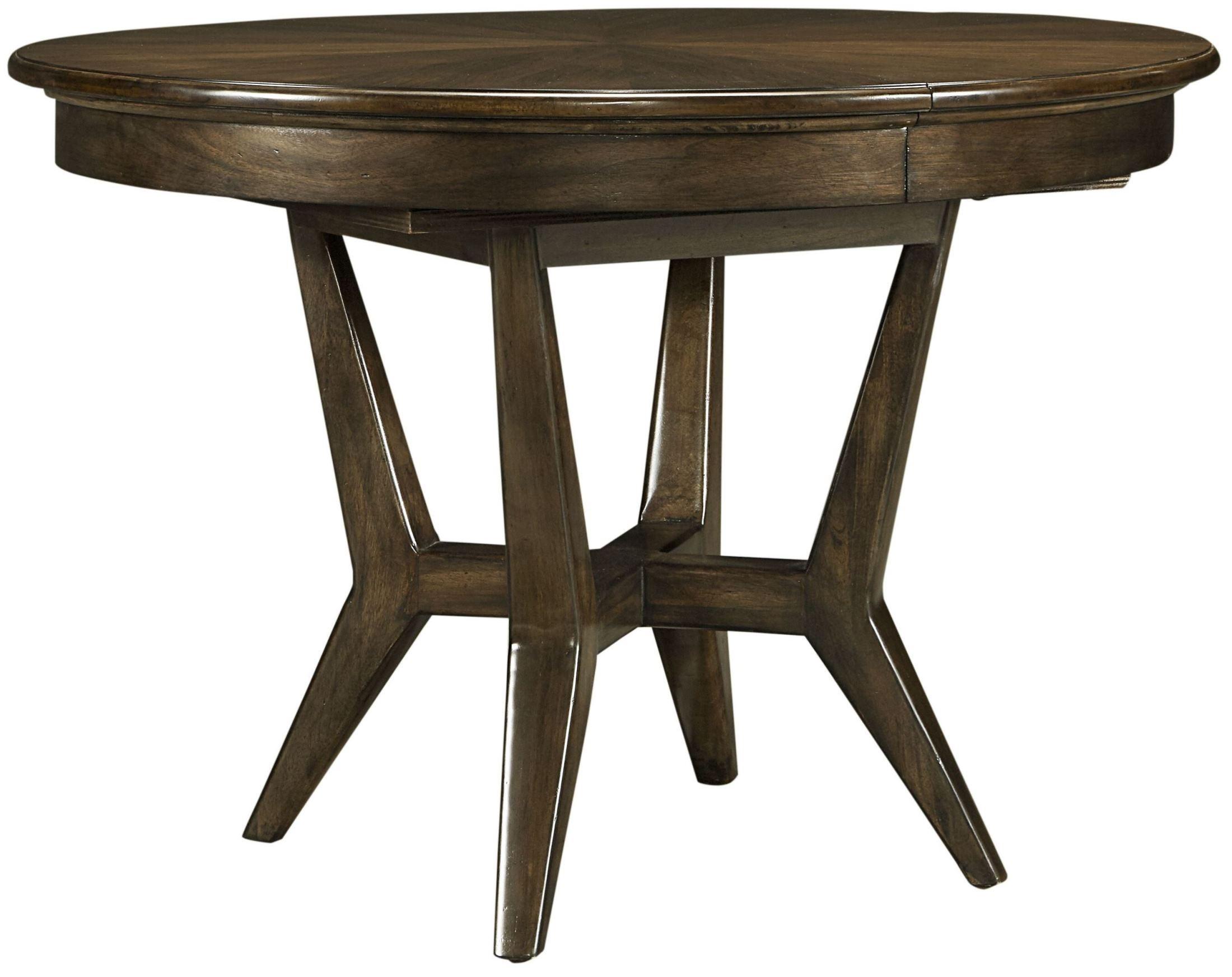 santa clara burnished walnut extendable round dining table 585 11 30 stanley furniture. Black Bedroom Furniture Sets. Home Design Ideas