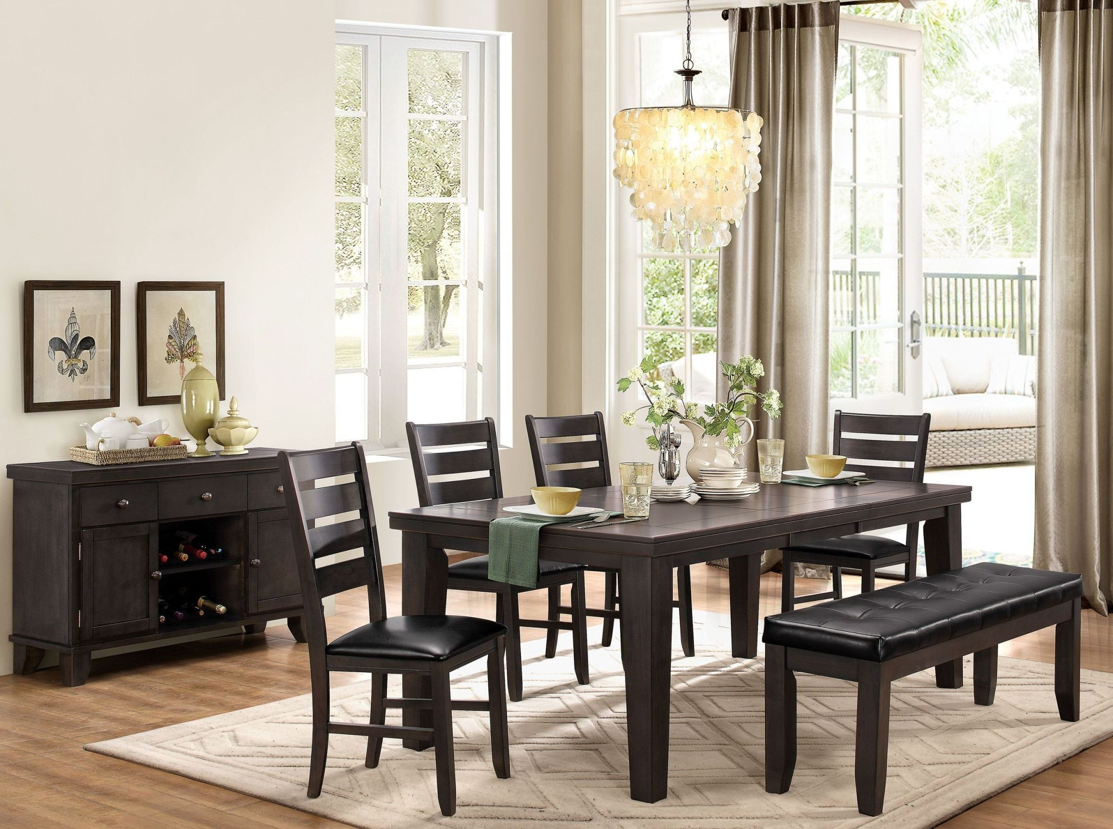 ameillia gray extendable dining room set 586gy 82