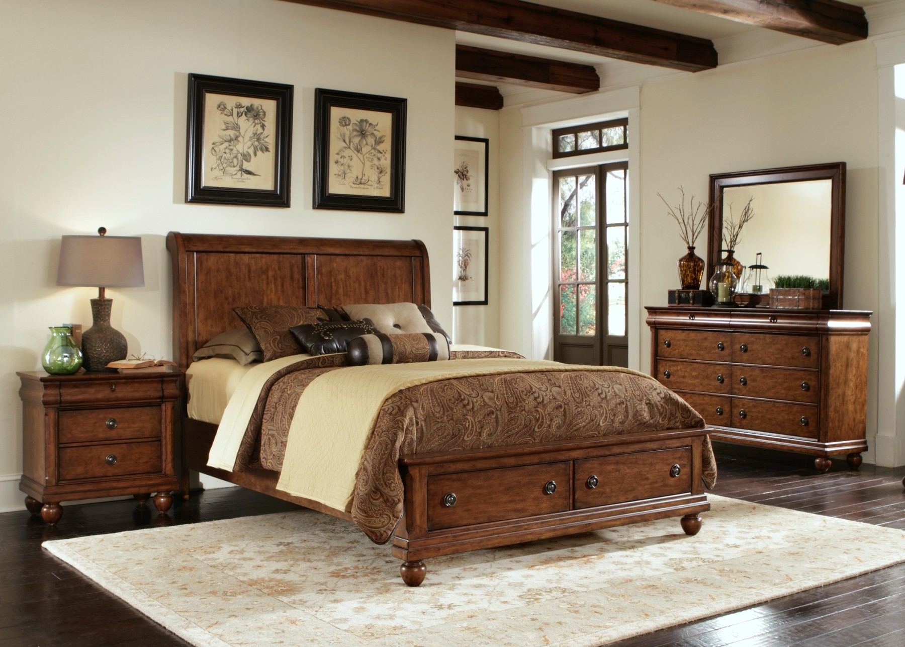 Rustic Traditions Sleigh Storage Bedroom Set from Liberty 589 BR QSB