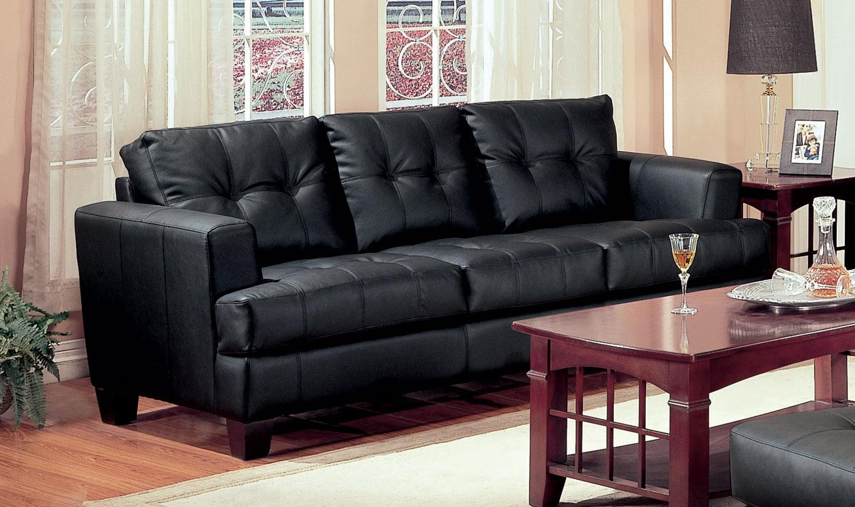Samuel black leather living room set 501681 from coaster for Black leather living room set