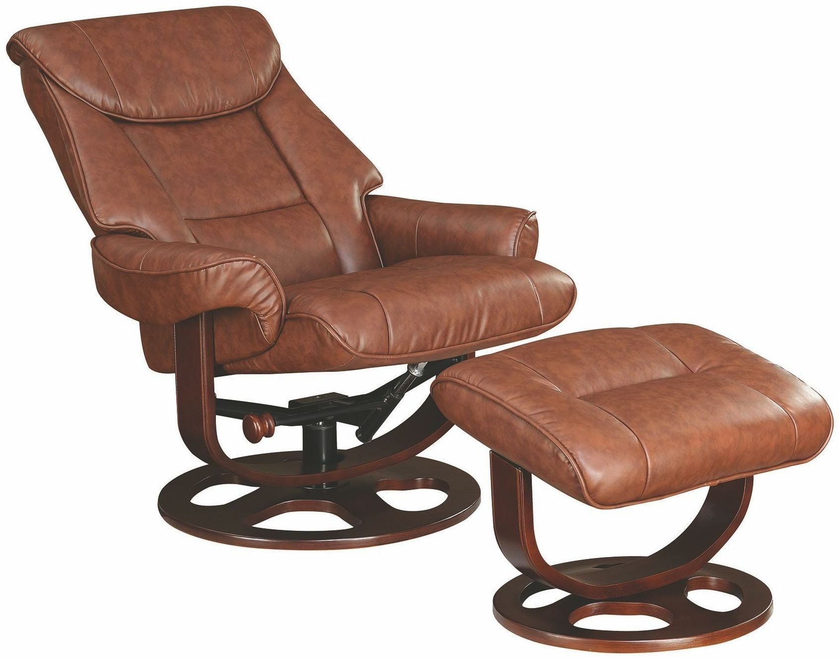 Brown glider recliner with ottoman 600087 coaster furniture for Chair with ottoman