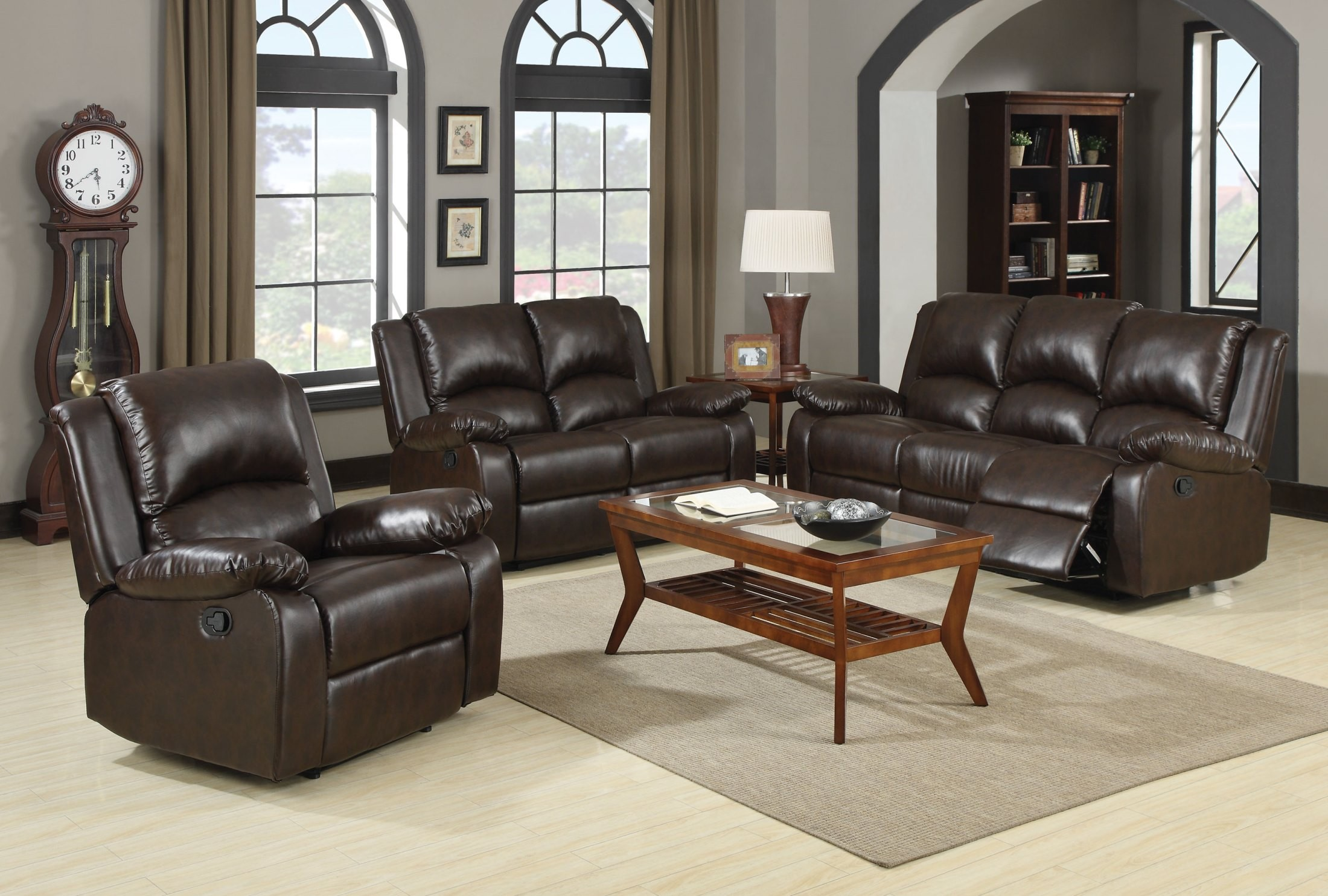 boston brown reclining living room set from coaster