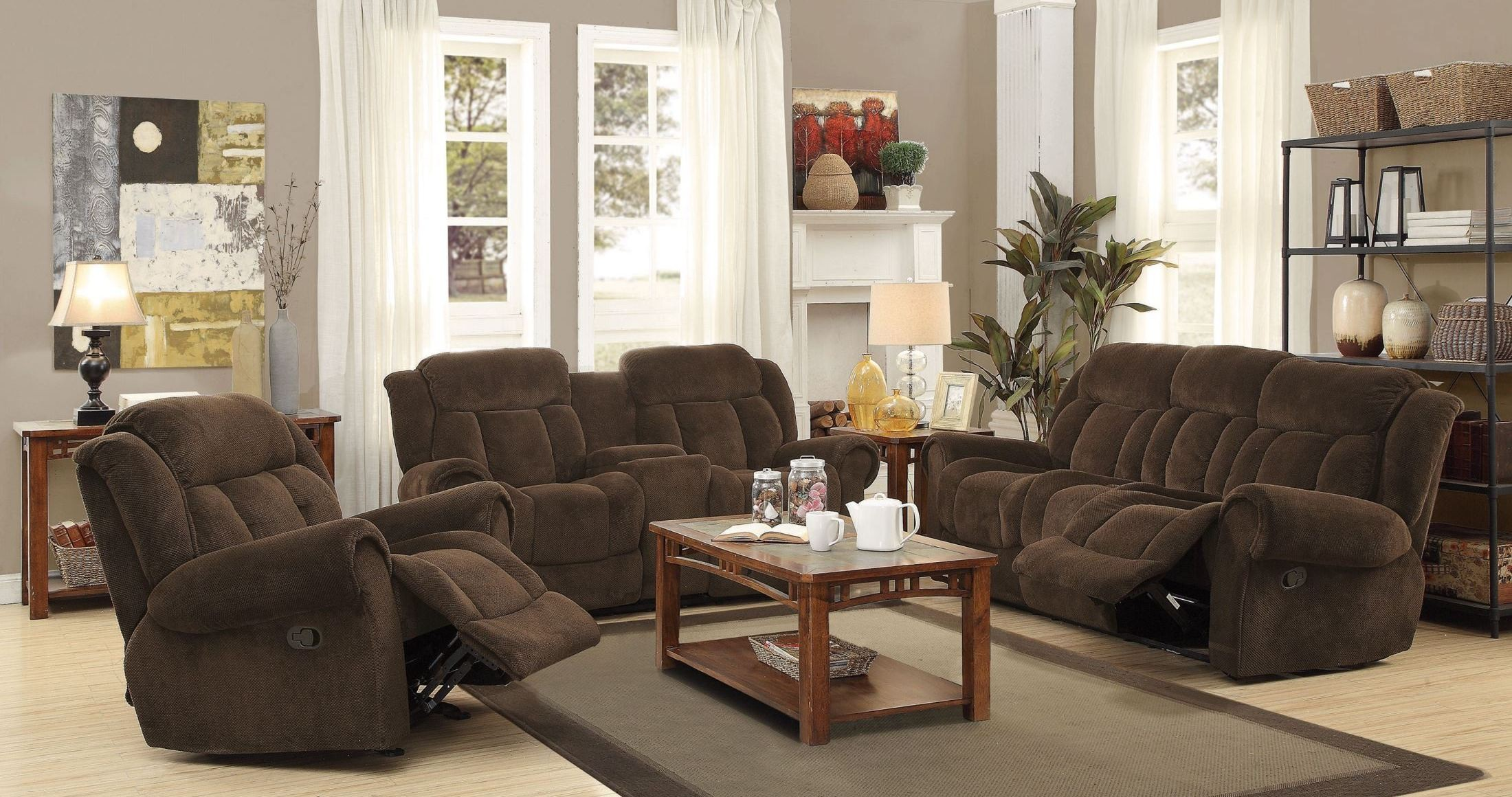 reige motion chocolate reclining living room set from