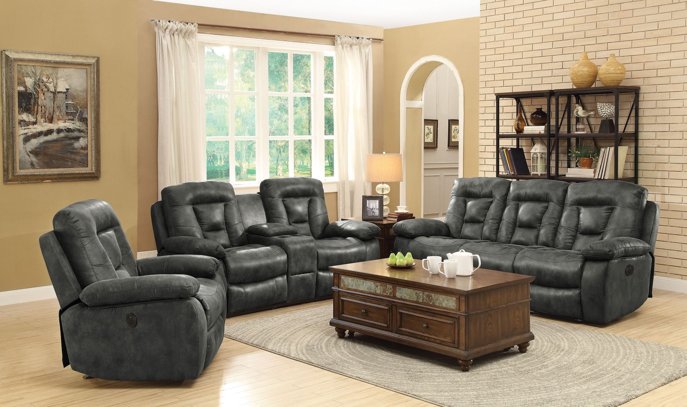 Evensky Charcoal Power Reclining Living Room Set 601867P Coaster