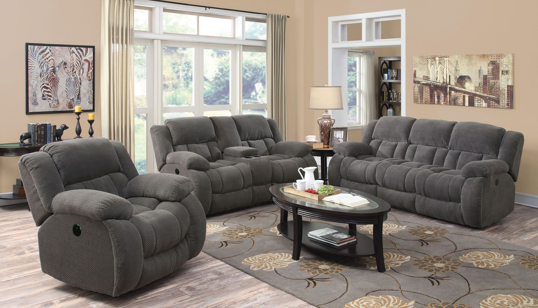 Weissman Charcoal Reclining Living Room Set From Coaster 601921 Coleman F
