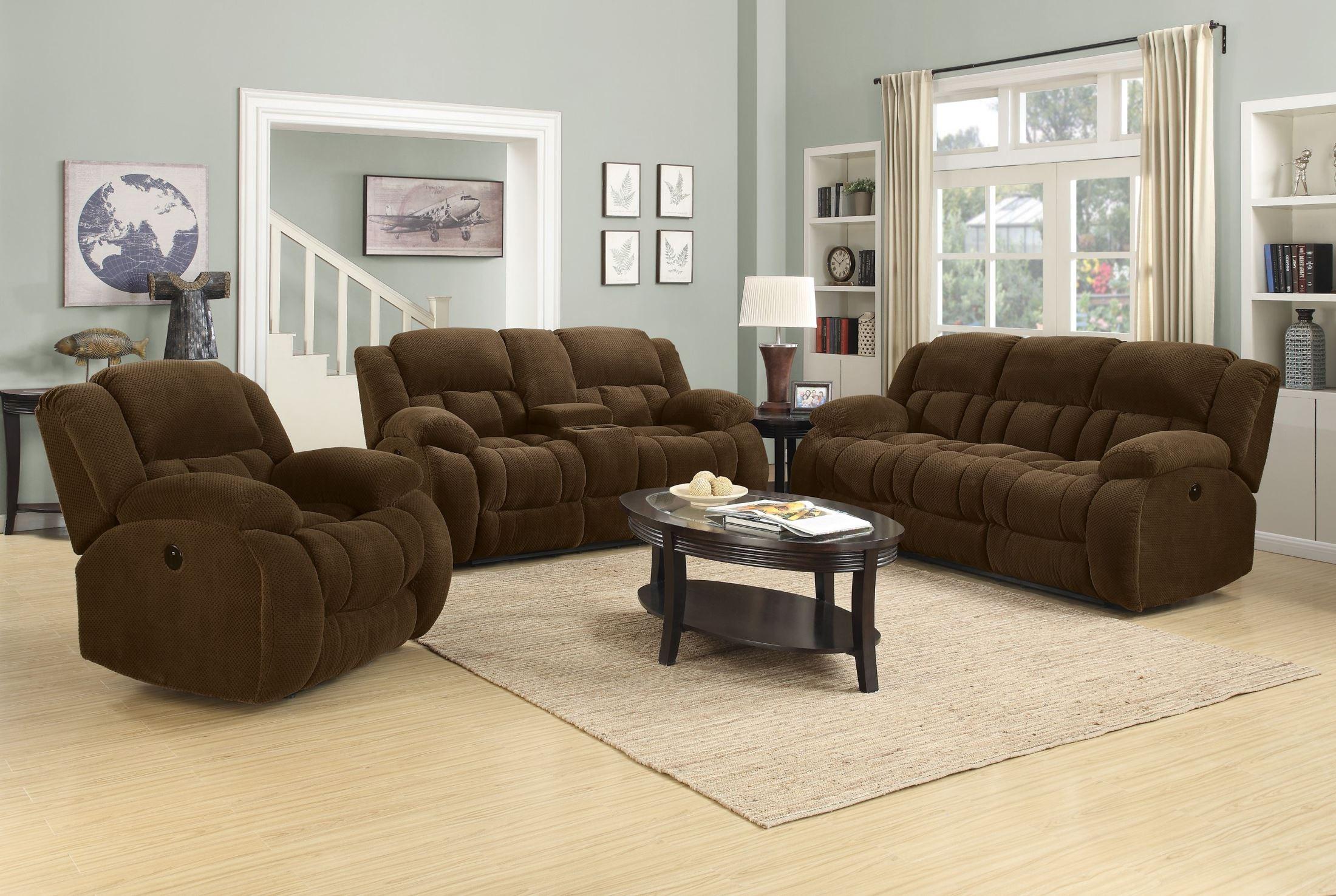 weissman brown reclining living room set from coaster 601924