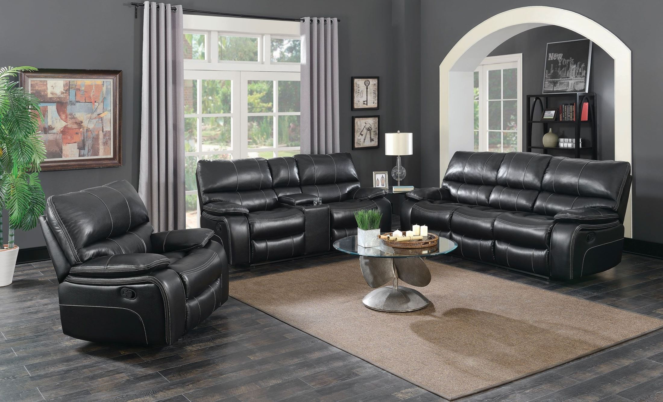 Willemse black reclining living room set 601934 coaster for Black living room furniture