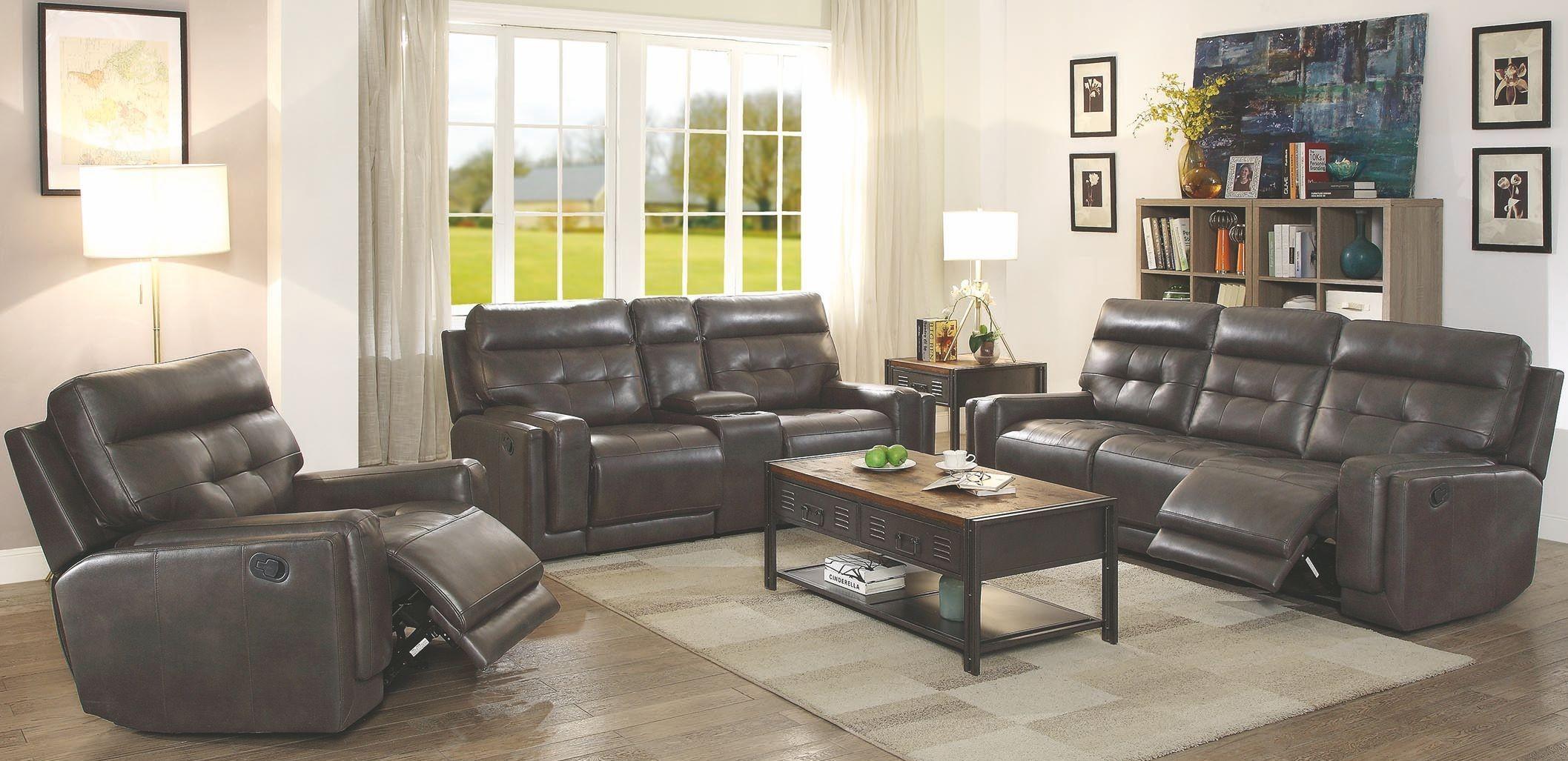 Trenton Motion Dark Grey Reclining Living Room Set 602064 Coaster Furniture