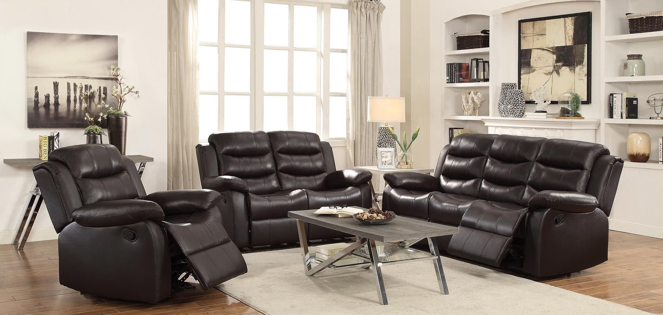 Rodman Motion Dark Brown Reclining Living Room Set 602221 Coaster Furniture