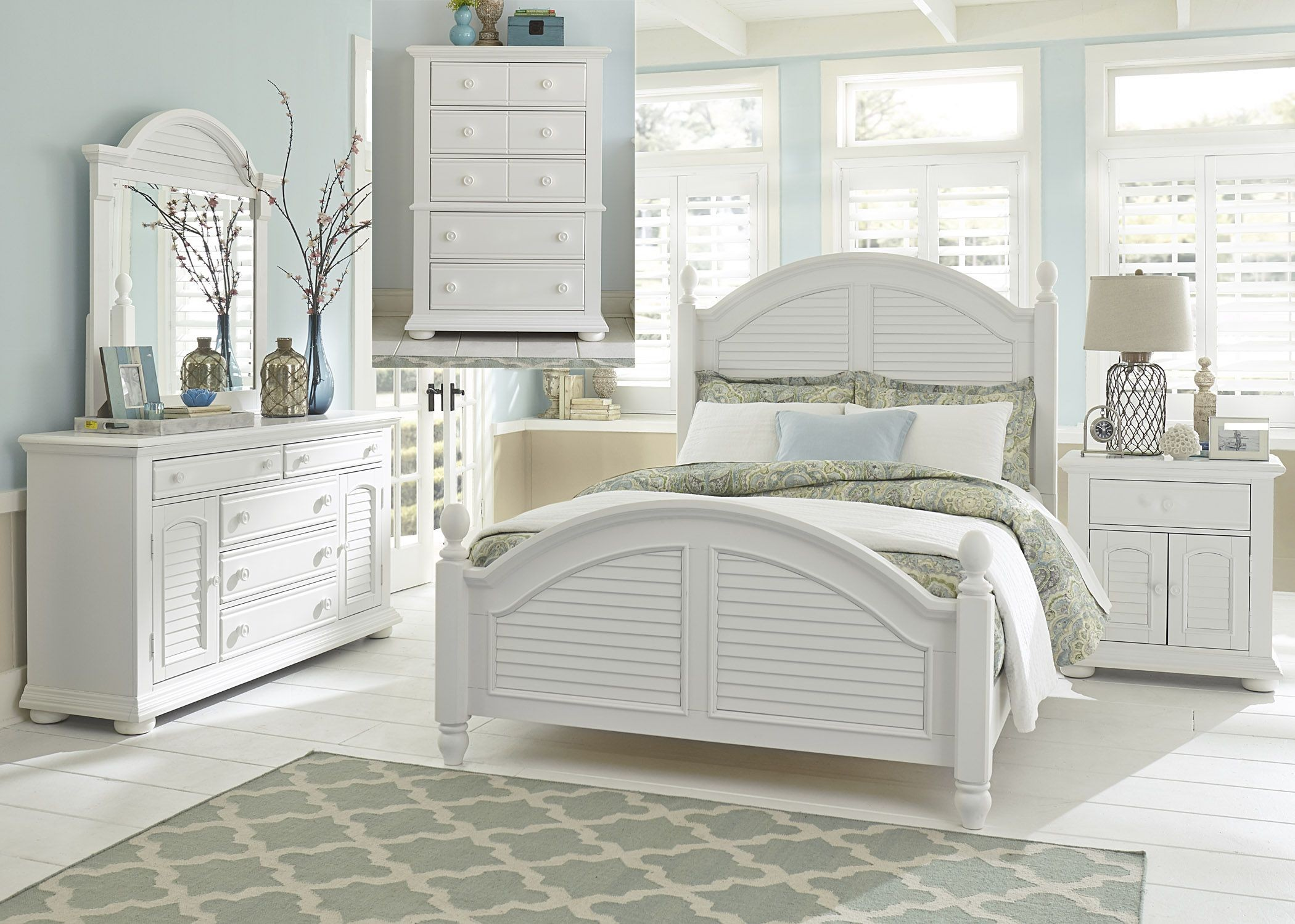Summer House Oyster White Queen Poster Bedroom Set 607 Br Qps Liberty