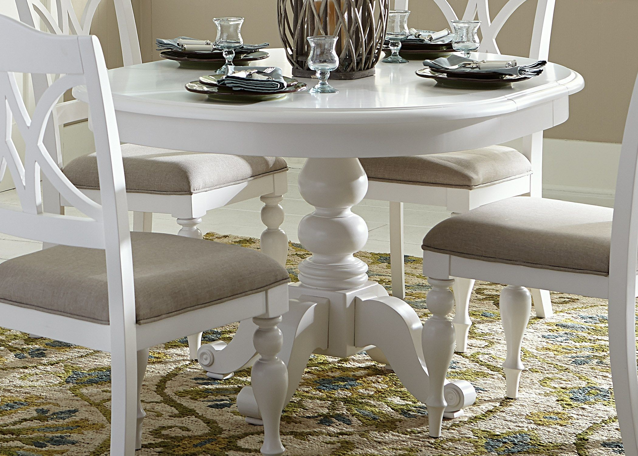 home summer house oyster white round pedestal dining table
