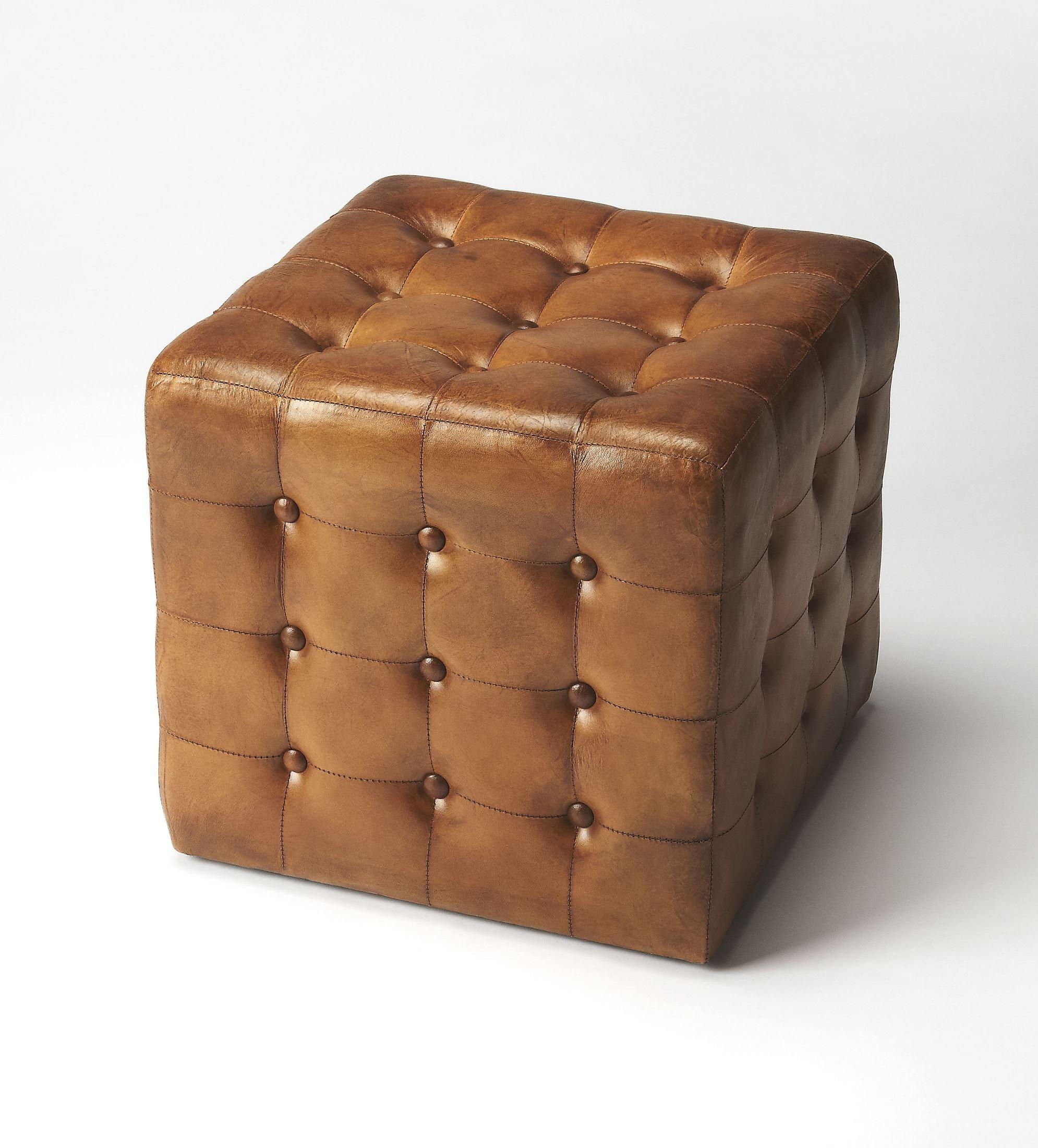 Leon Brown Leather Ottoman 6165344 Butler