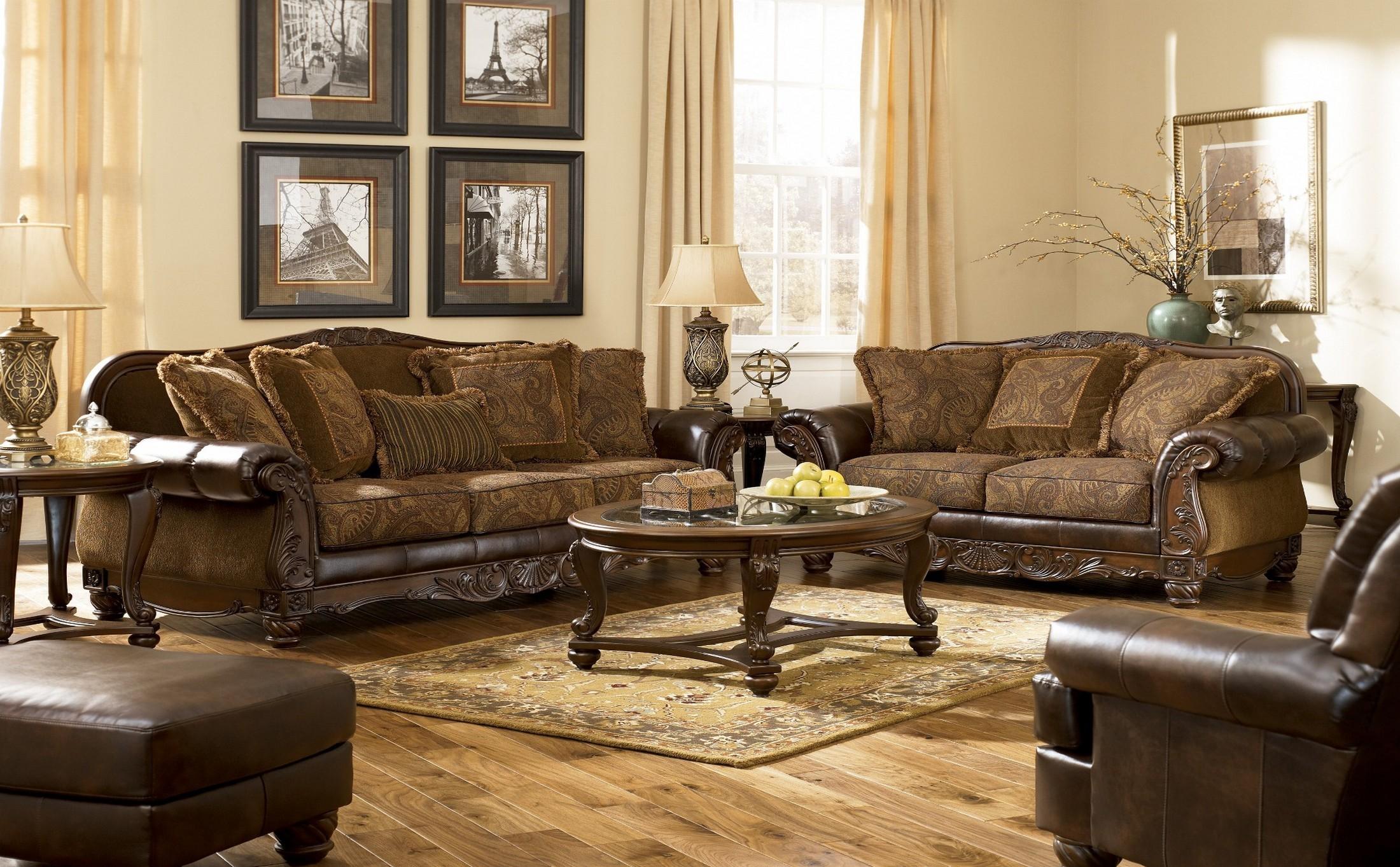 Living Room Sets Furniture Fresco Durablend Antique Living Room Set From Ashley 63100