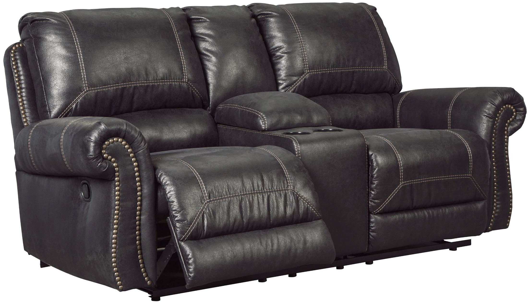 Milhaven Black Double Power Reclining Console Loveseat 6330396 Ashley