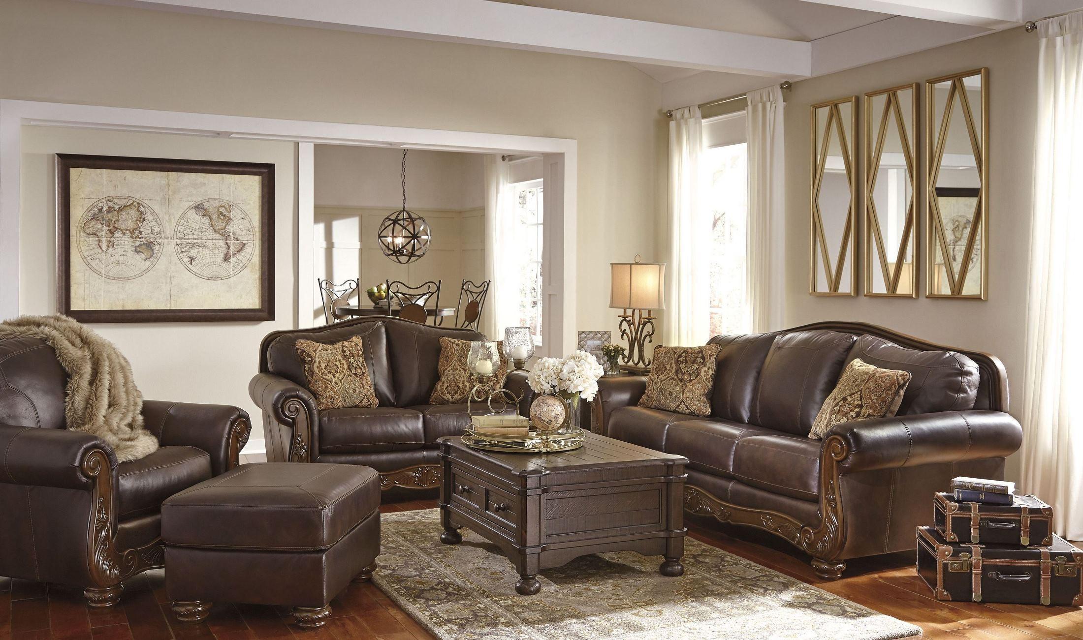 Mellwood walnut living room set 6460538 ashley for Walnut furniture living room