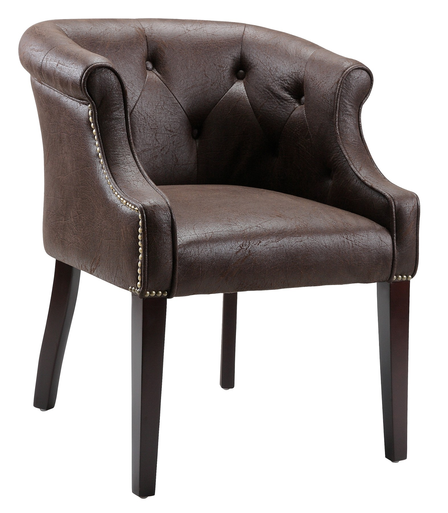 Accent Button Tufted Brown Chair 64744 Stein World