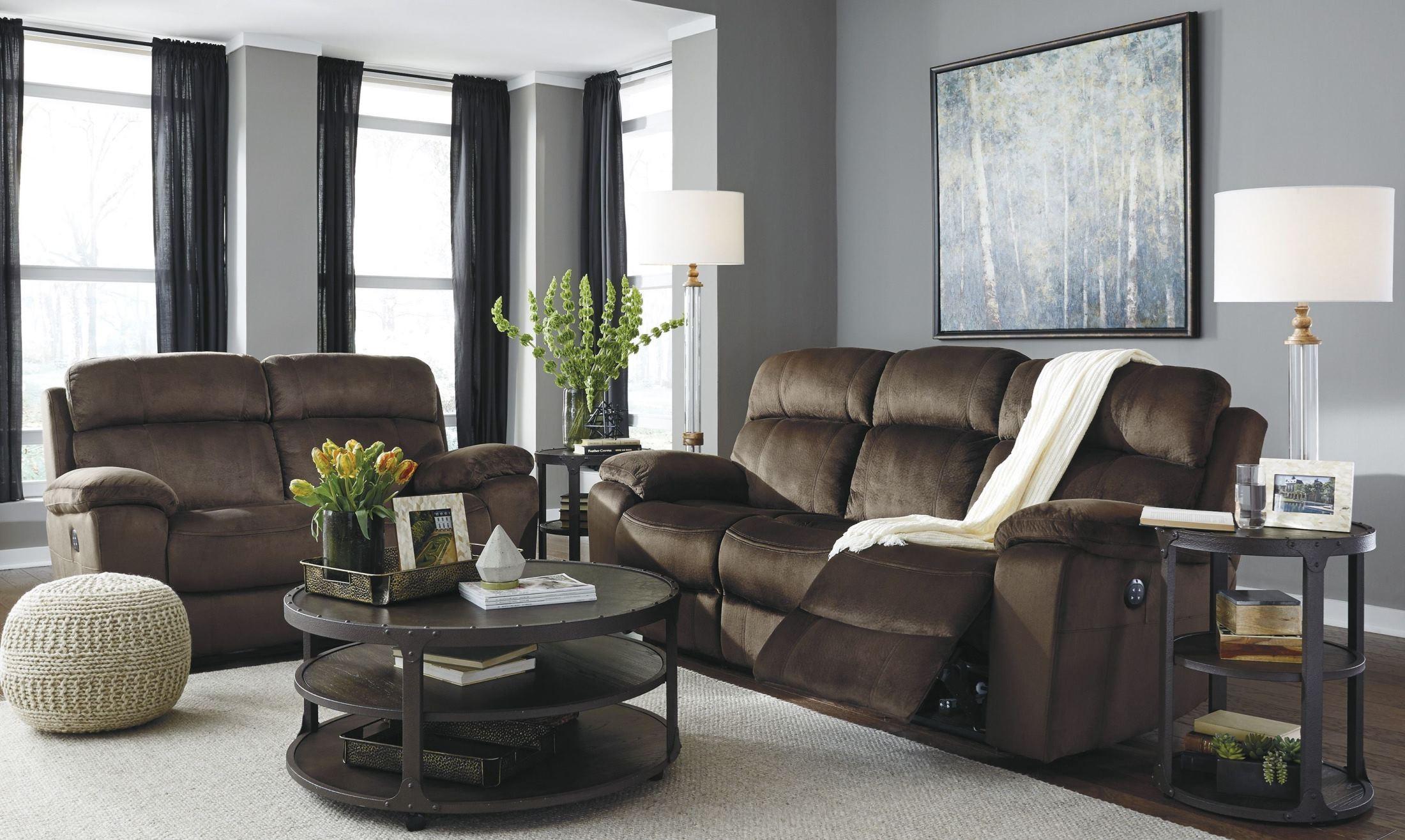 uhland chocolate power reclining living room set 6480315 ashley