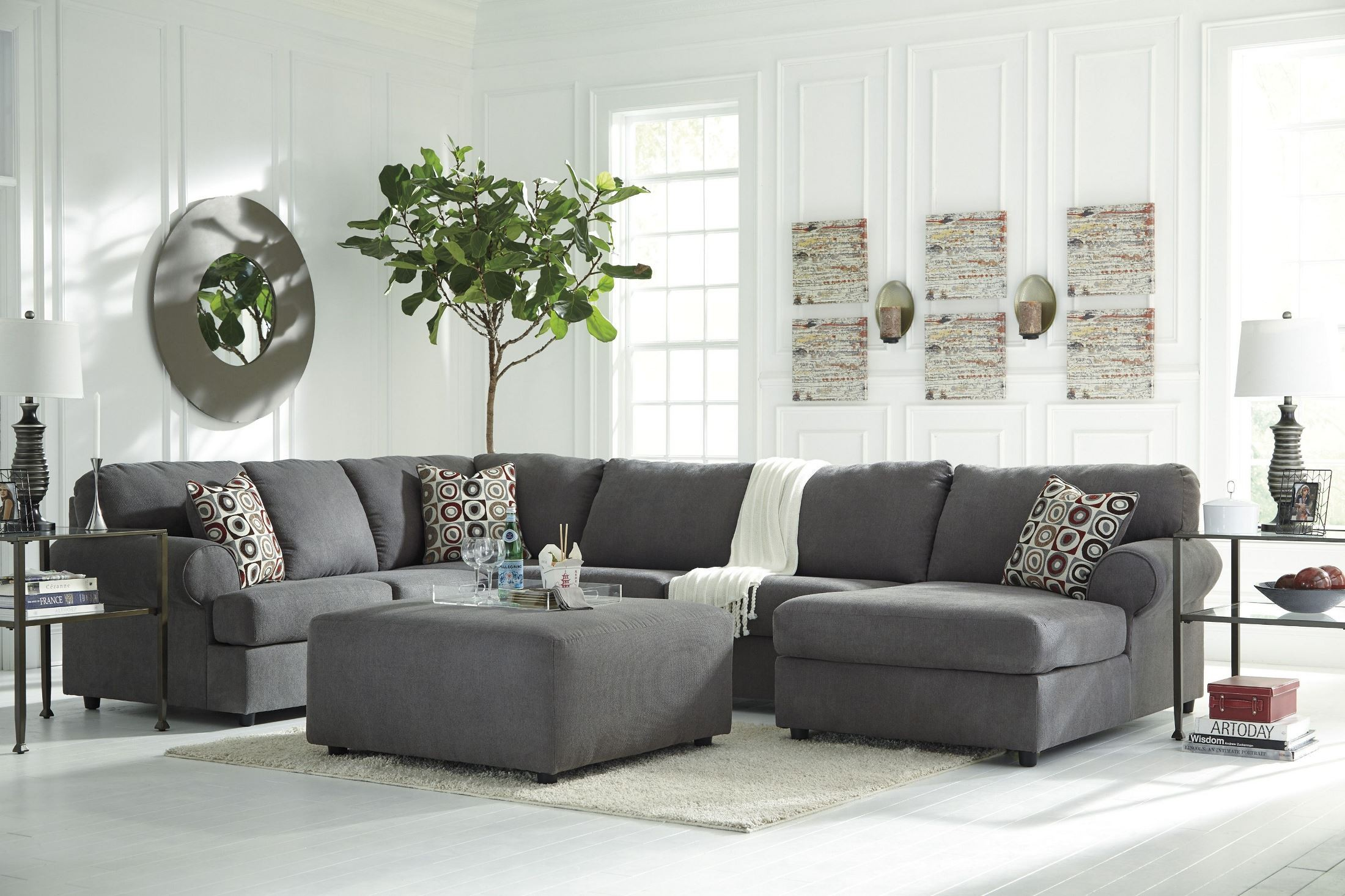 Jayceon grays sectional from ashley 6490216 coleman for Living room furniture designs catalogue