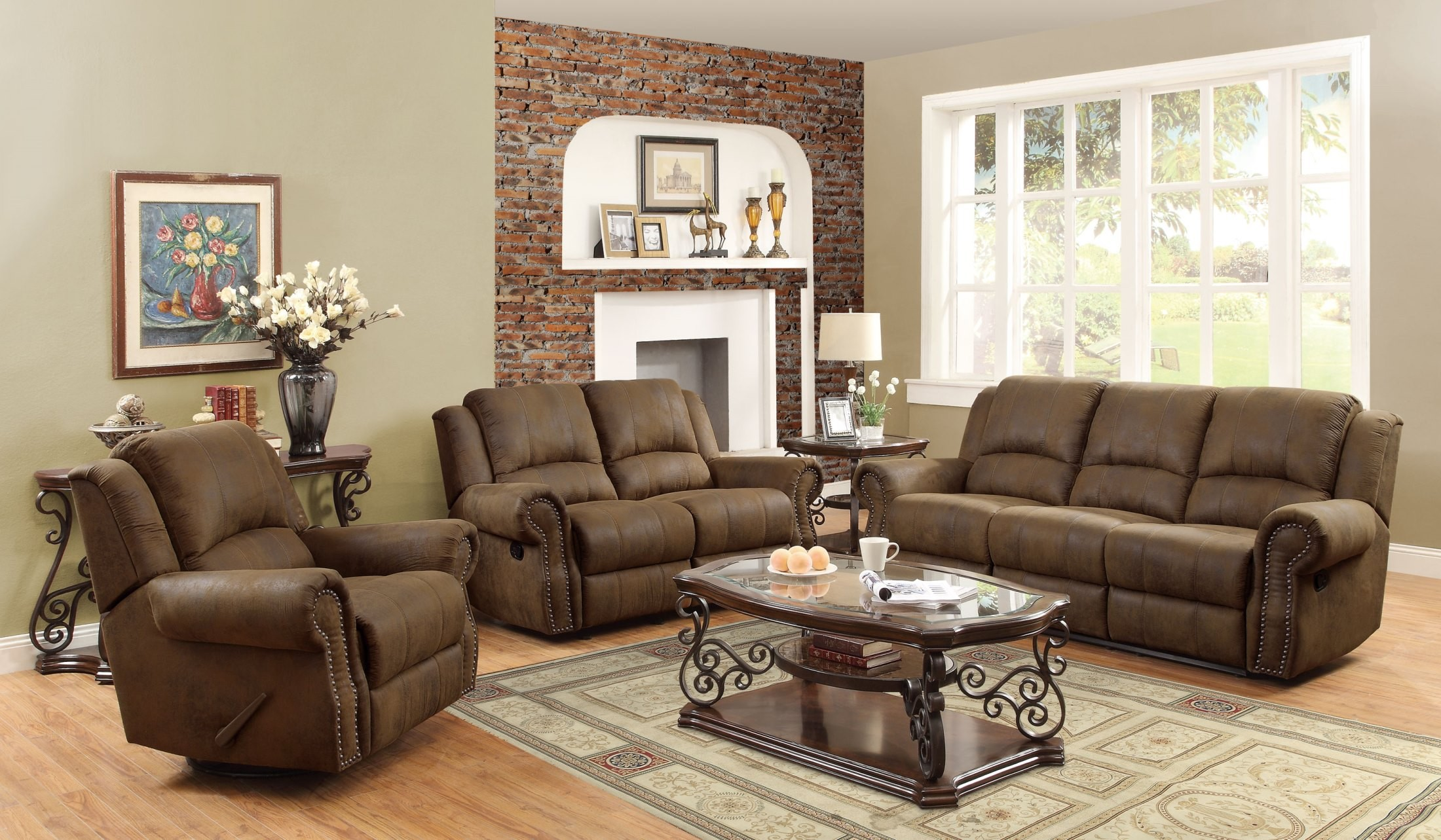 Sir rawlinson brown reclining living room set from coaster for Brown living room set
