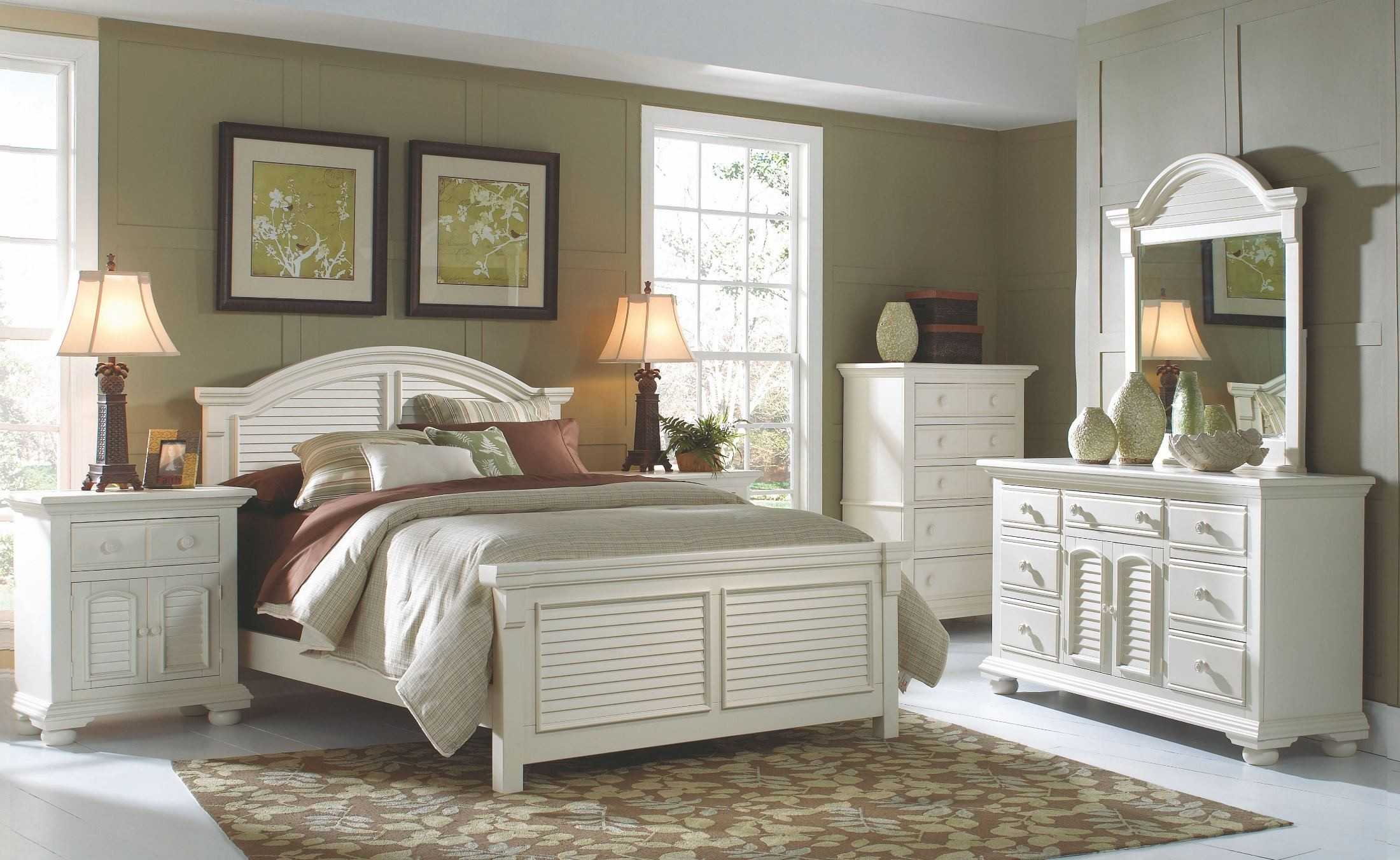 cottage traditions white panel bedroom set 6510 50pan