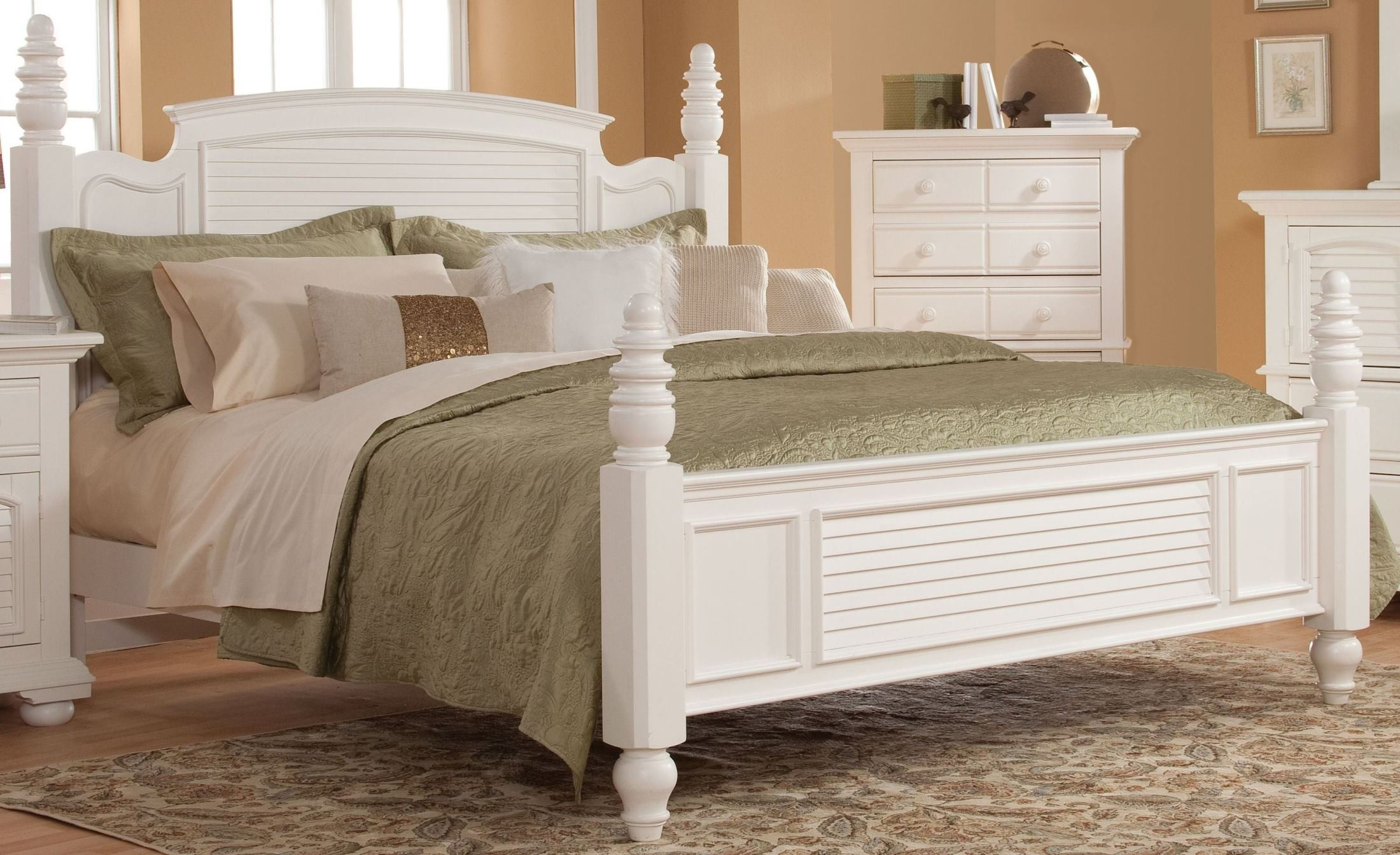 Cottage Traditions White Poster Bed 6510 50pos American Woodcrafters Master Bedroom Furniture