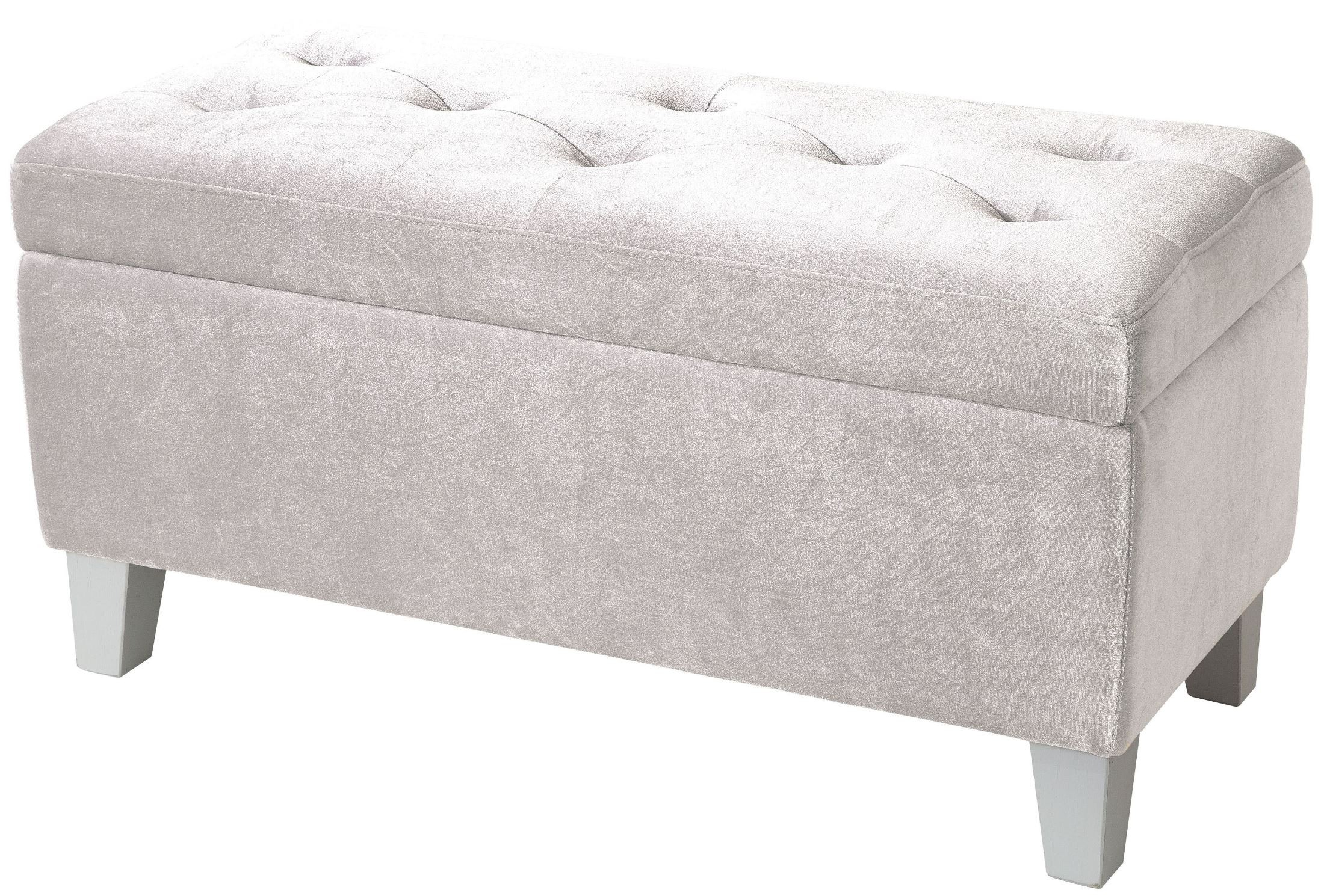 Young parisian white velvet storage bench 65184 standard furniture Velvet storage bench
