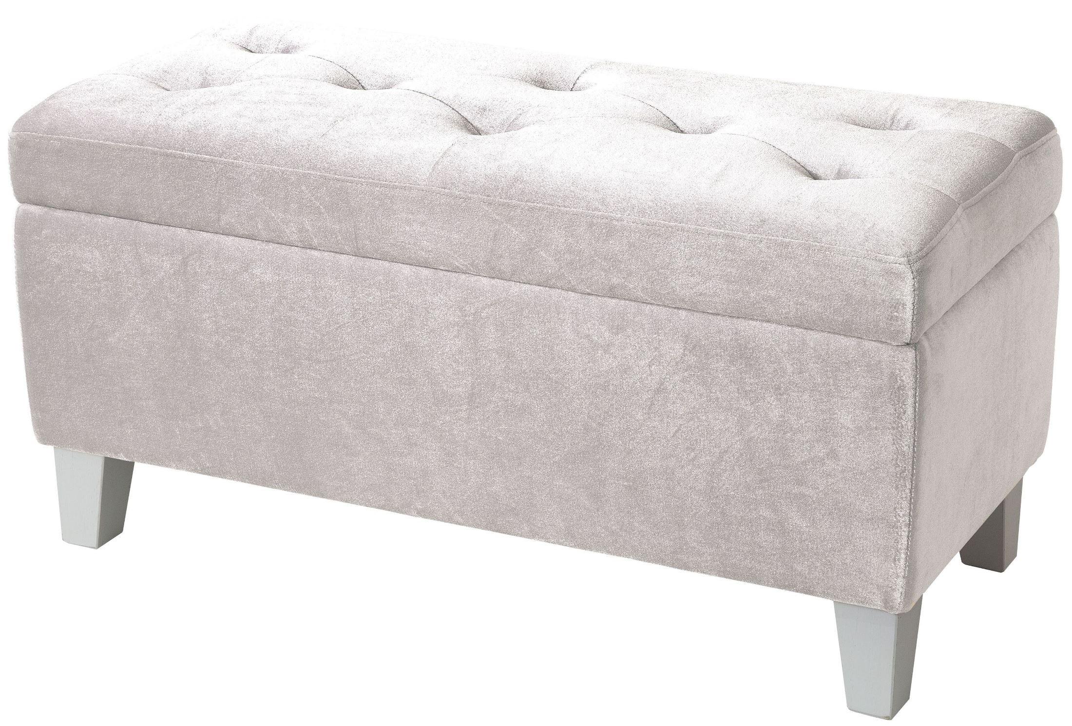 Young parisian white velvet storage bench 65184 standard furniture Velvet storage bench