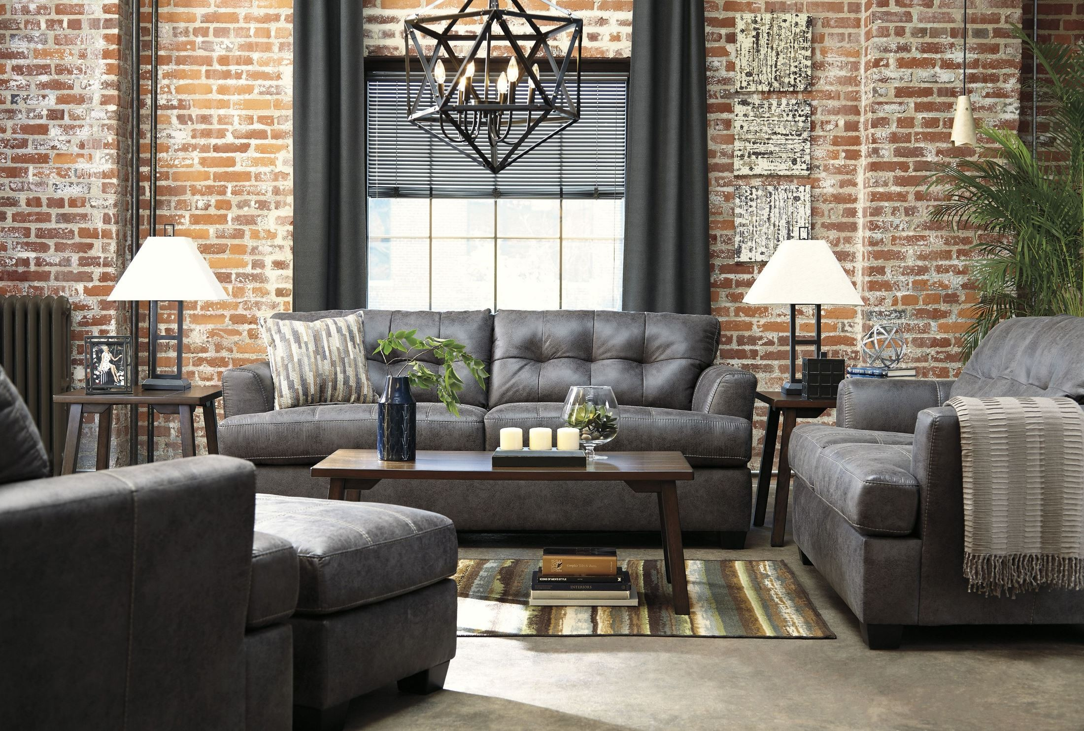 Inmon charcoal living room set 6580738 ashley for Living room furniture specials