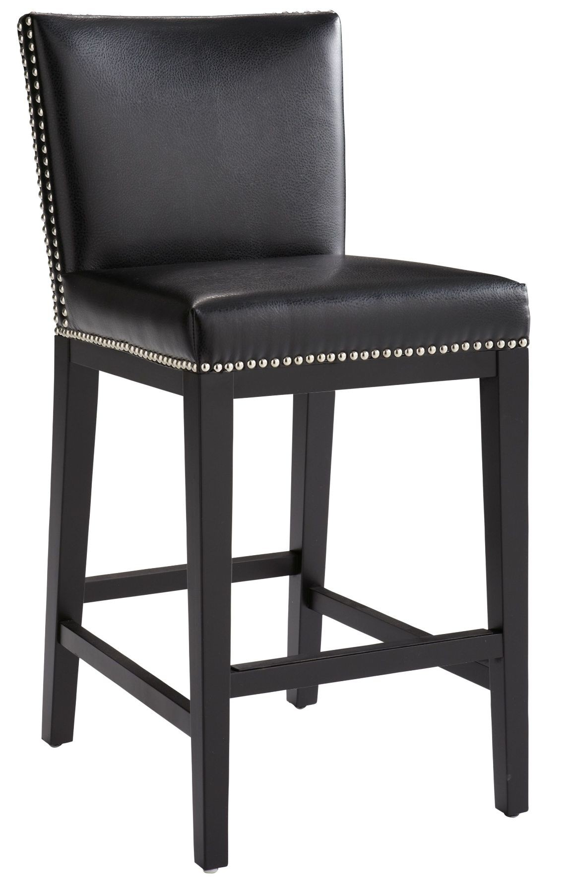 Vintage Black Leather Counter Stool From Sunpan 65872