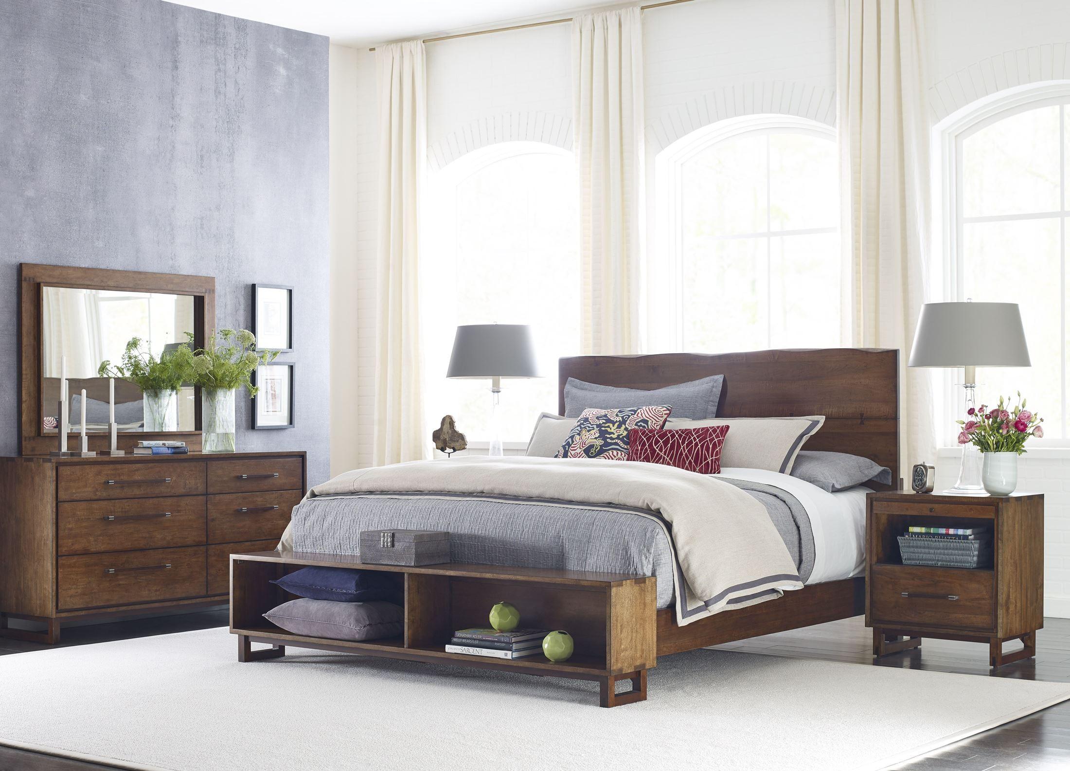 Traverse brown live edge platform storage bedroom set 660 - Platform bedroom sets with storage ...