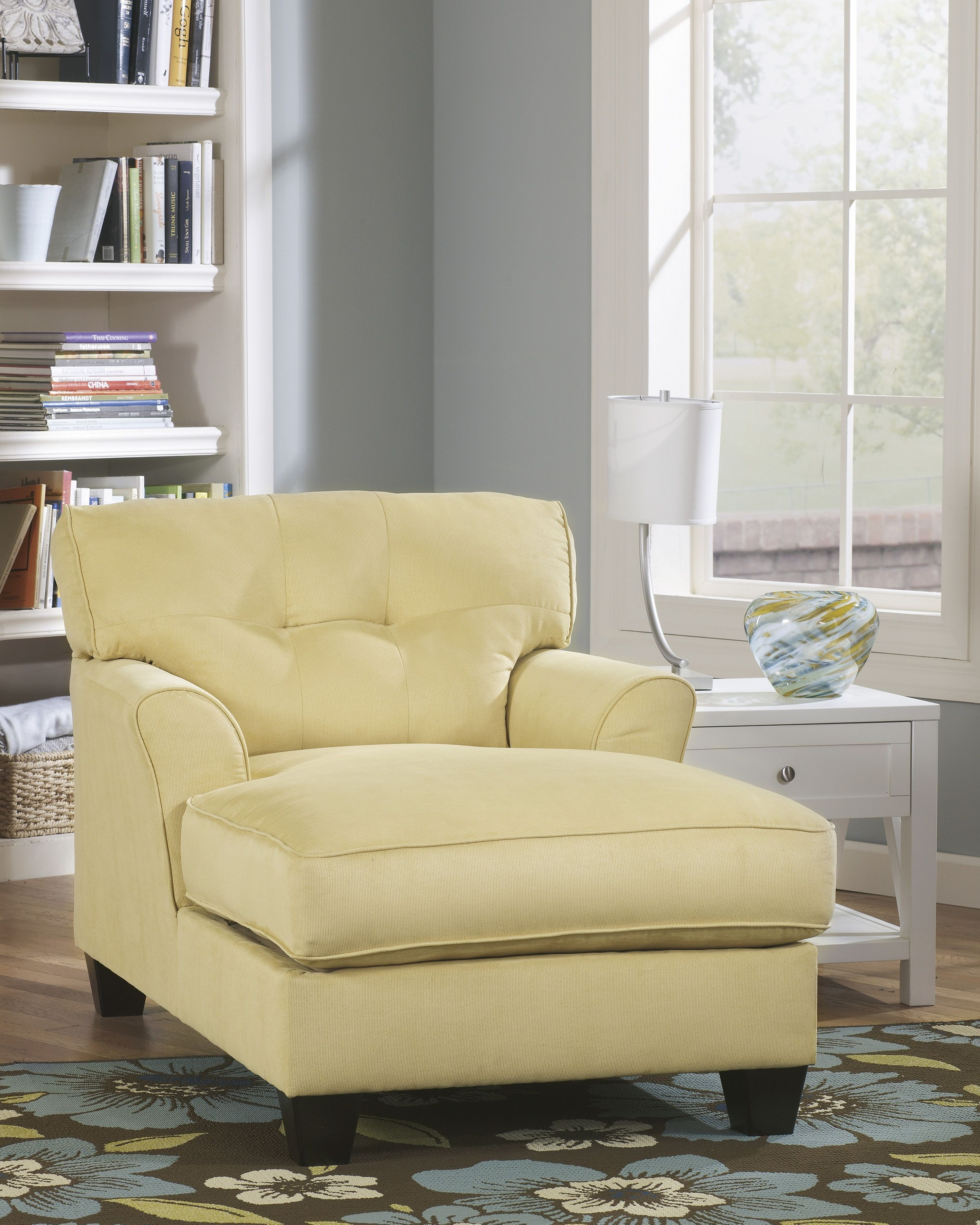 Kylee goldenrod chaise ashley furniture 6640115 living for Ashley kylee chaise lounge