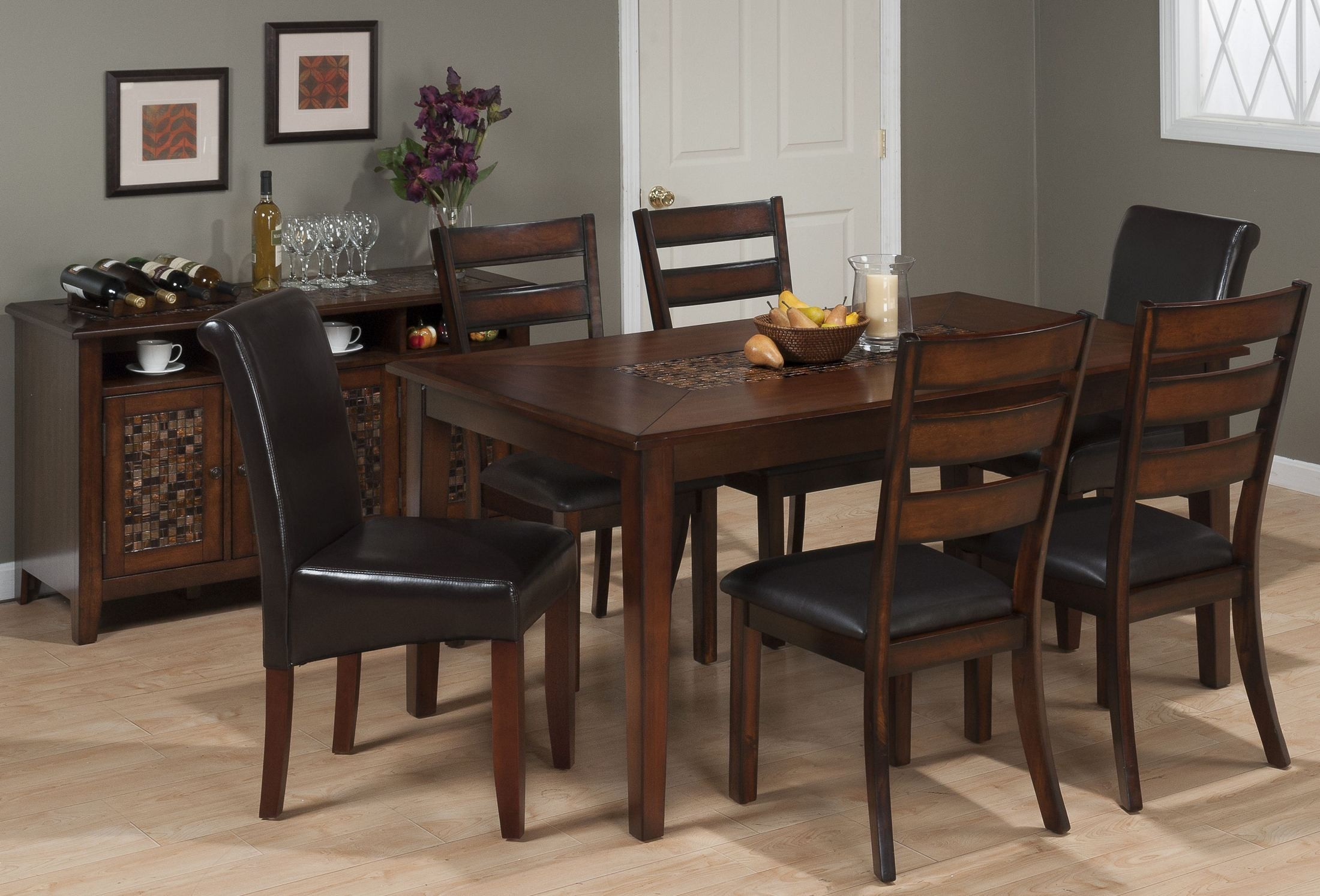 Dark rustic prairie dark brown 5 piece counter height for Brown dining room set