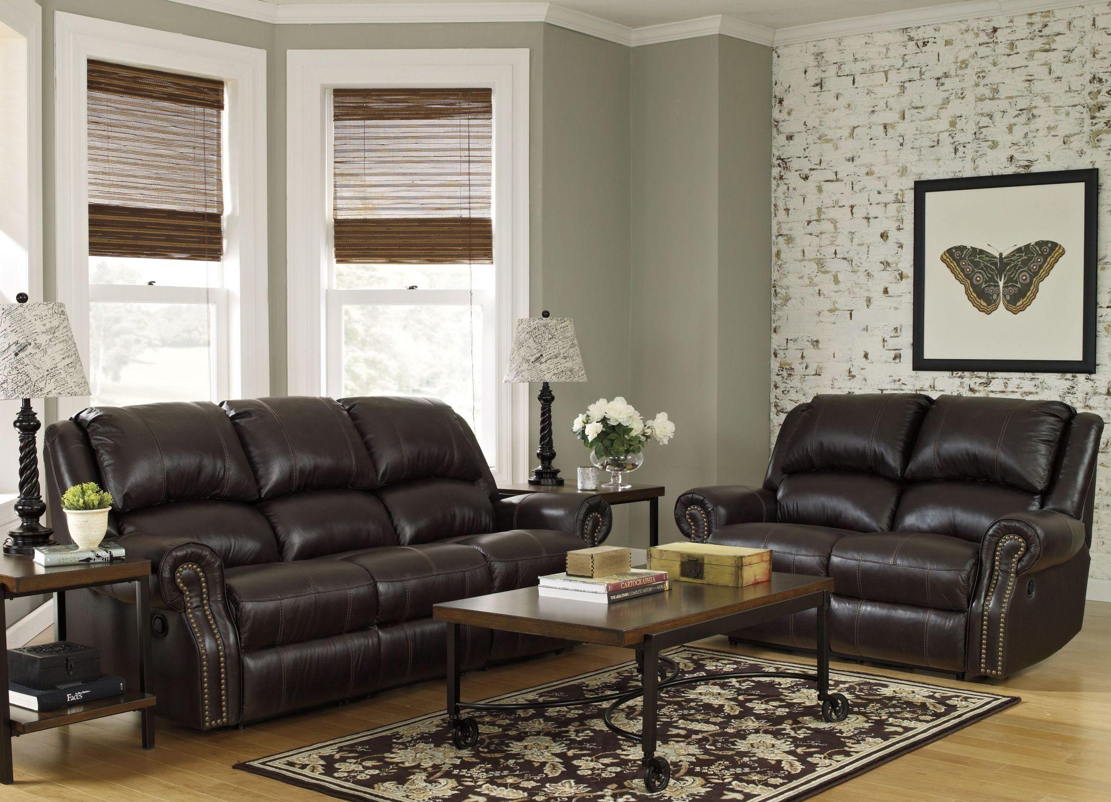mooresville chocolate reclining living room set 6980388 ashley