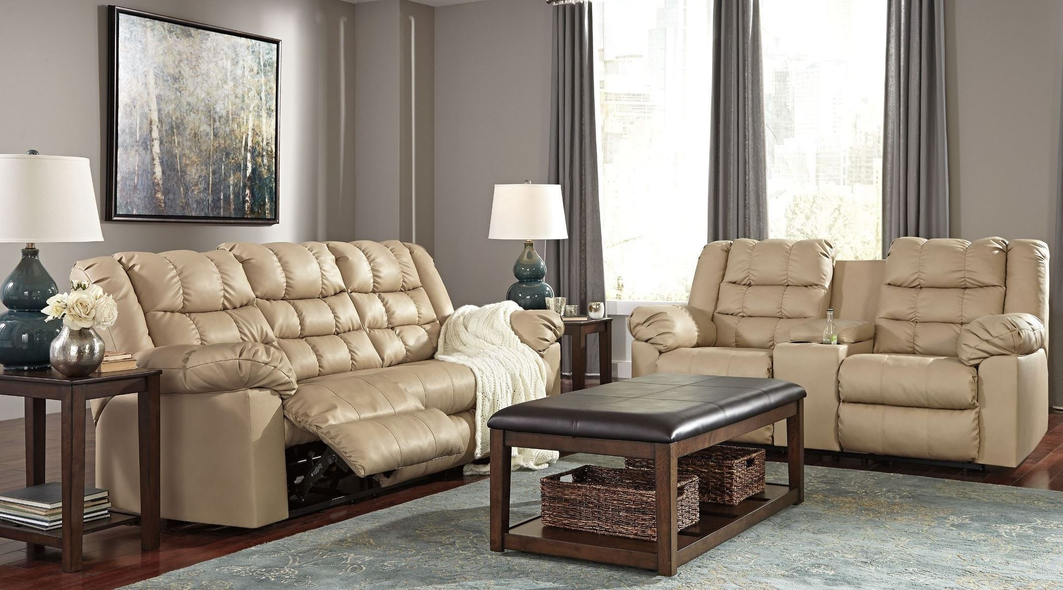 Brolayne durablend beige reclining living room set from for Living room 94 answers