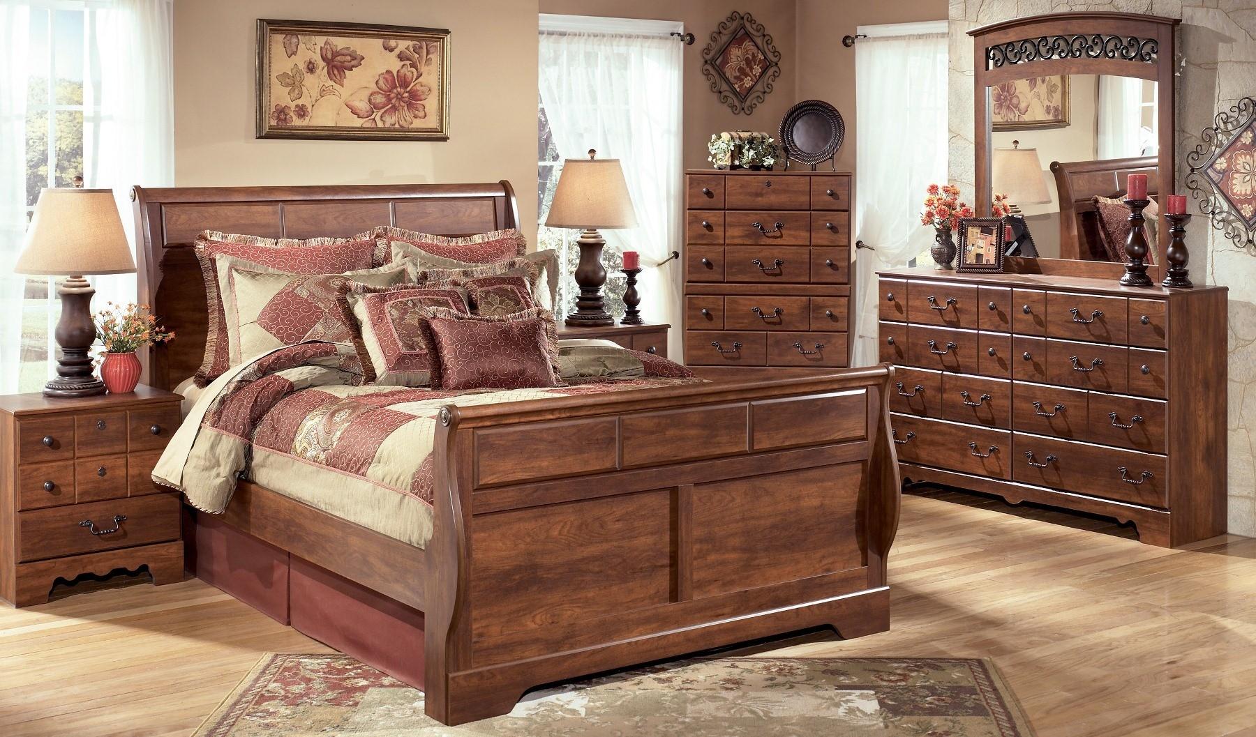 Timberline sleigh bedroom set from ashley b258 sl - Ashley furniture sleigh bedroom set ...