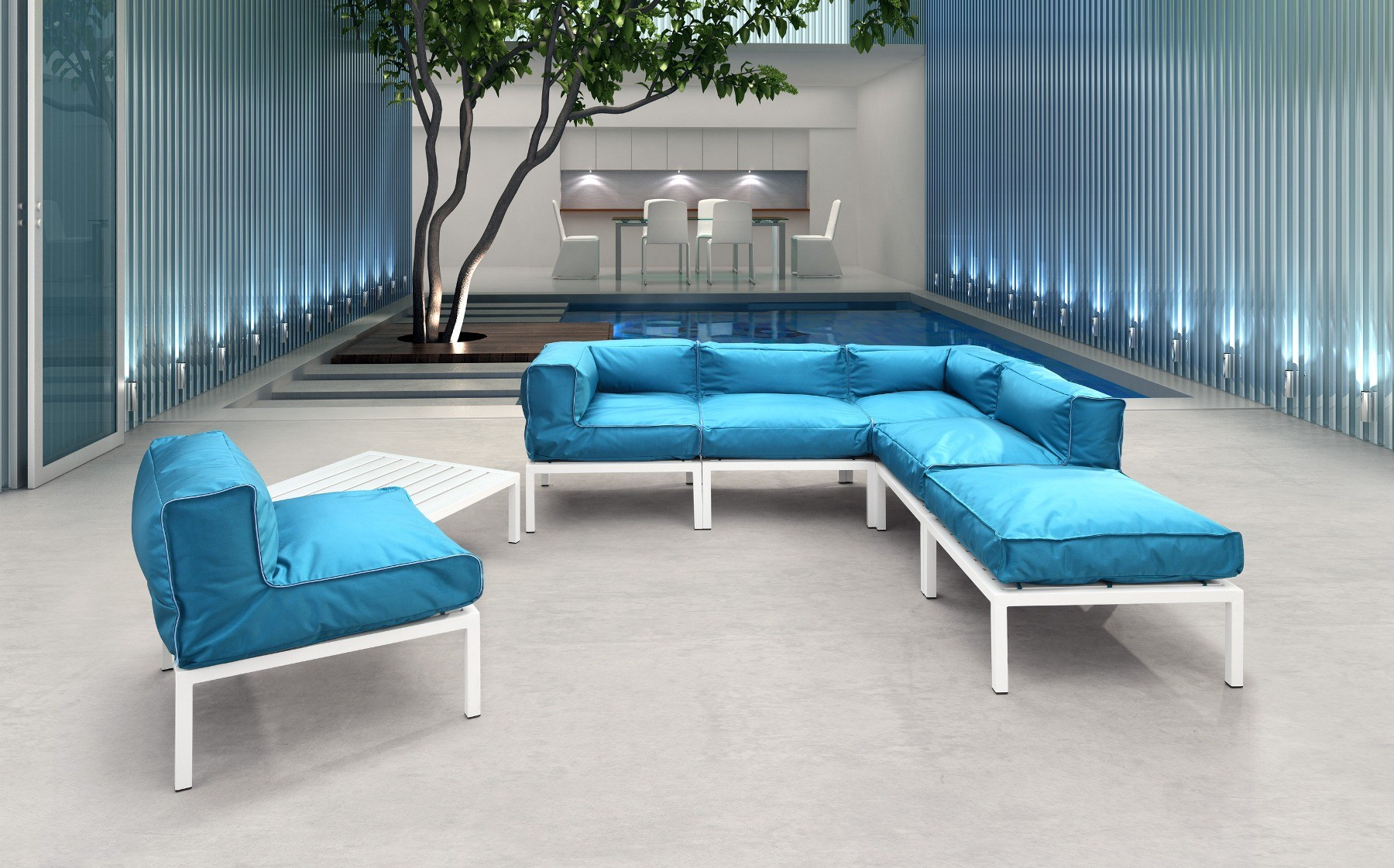 Zuo Modern Patio Set Turquoise Contemporary Furniture