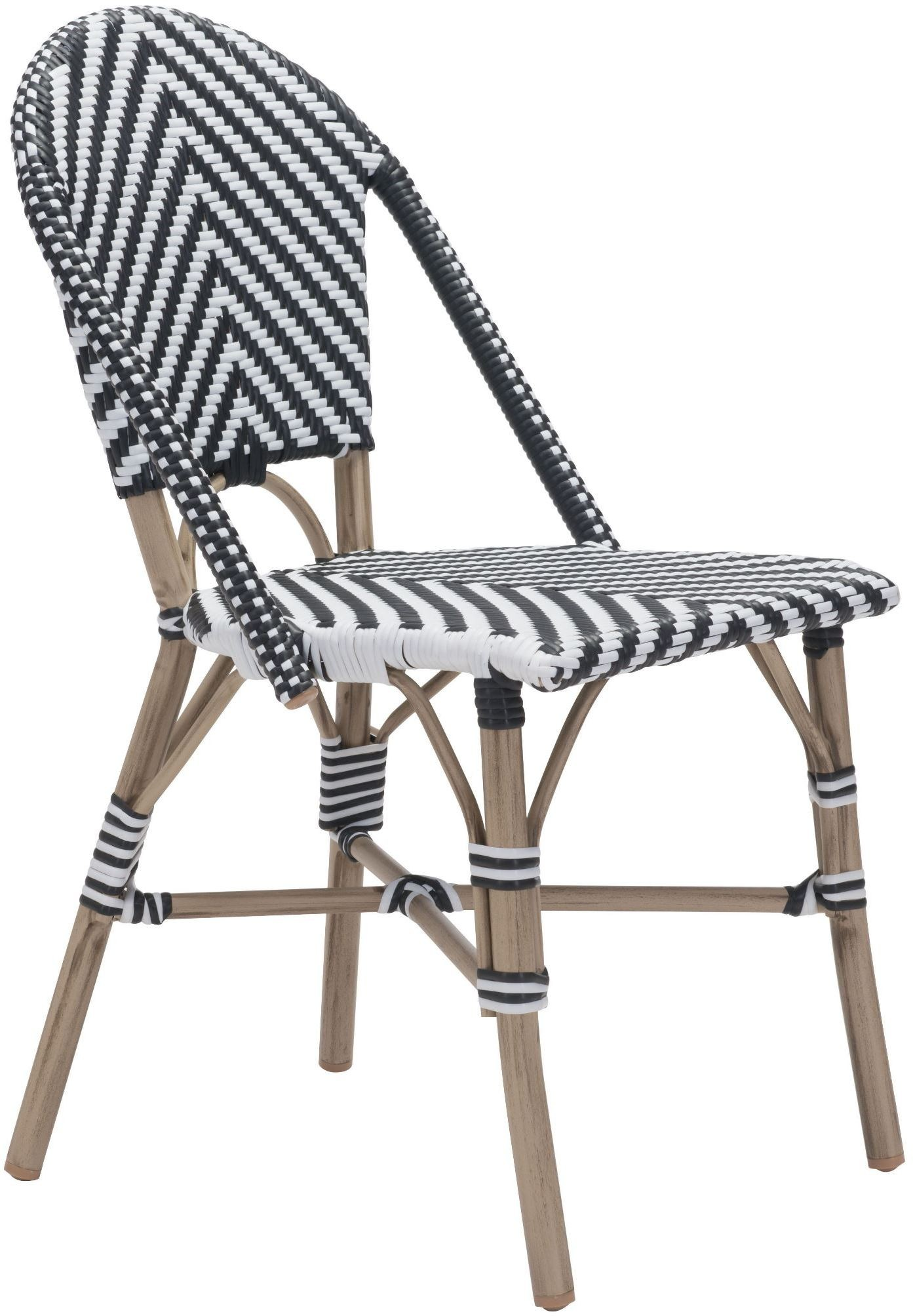Paris Black And White Armless Chair Set Of 2 703805 Zuo Modern