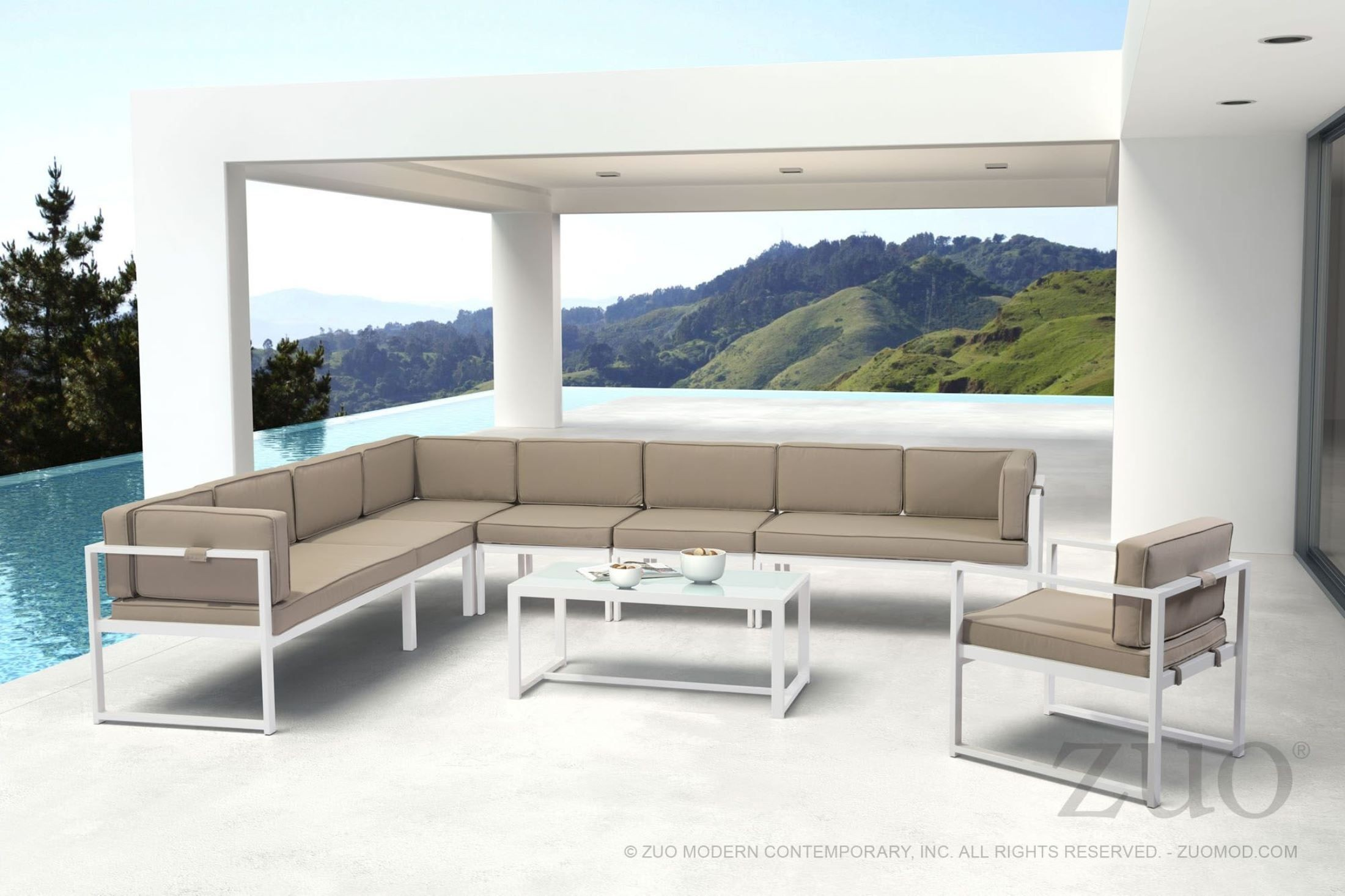Golden Beach White and Taupe Sectional Zuo Modern