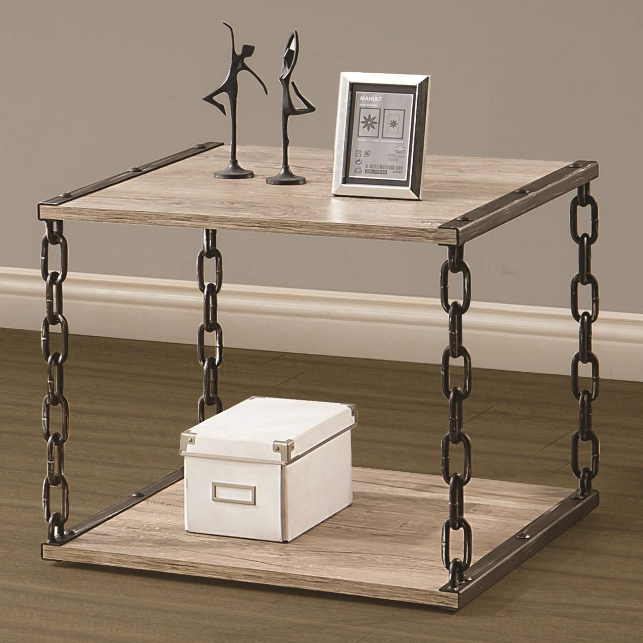 Rustic chain link end table from coaster