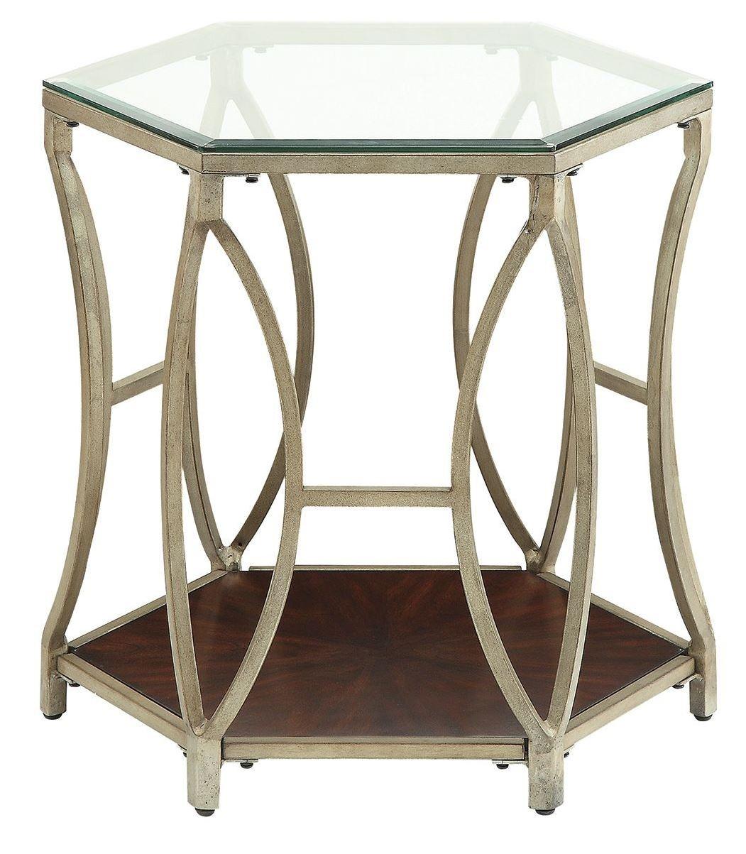 dark champagne metal end table 703947 coaster. Black Bedroom Furniture Sets. Home Design Ideas
