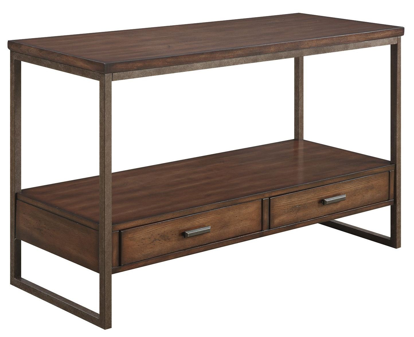Ellery rustic brown metal sofa table from coaster 704309 for 5 sofa table