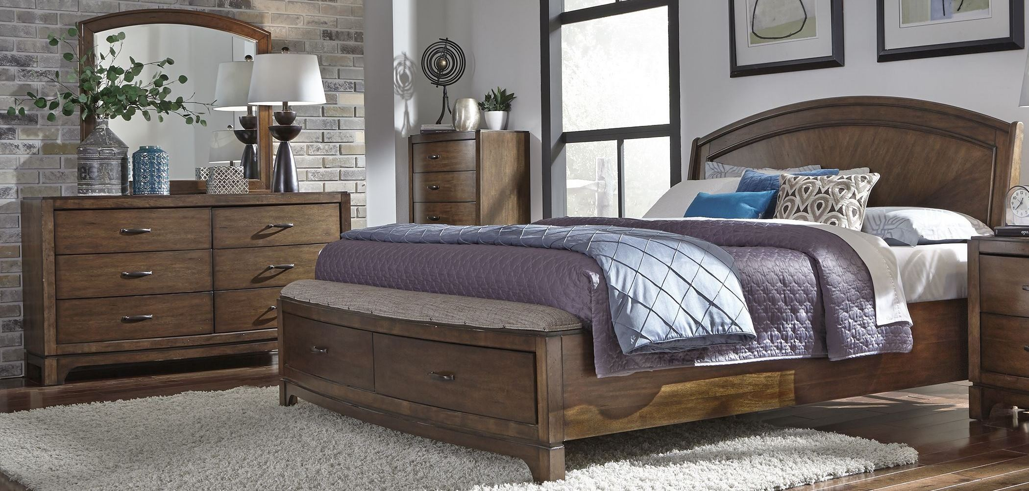 avalon iii pebble brown panel storage bedroom set 705 br