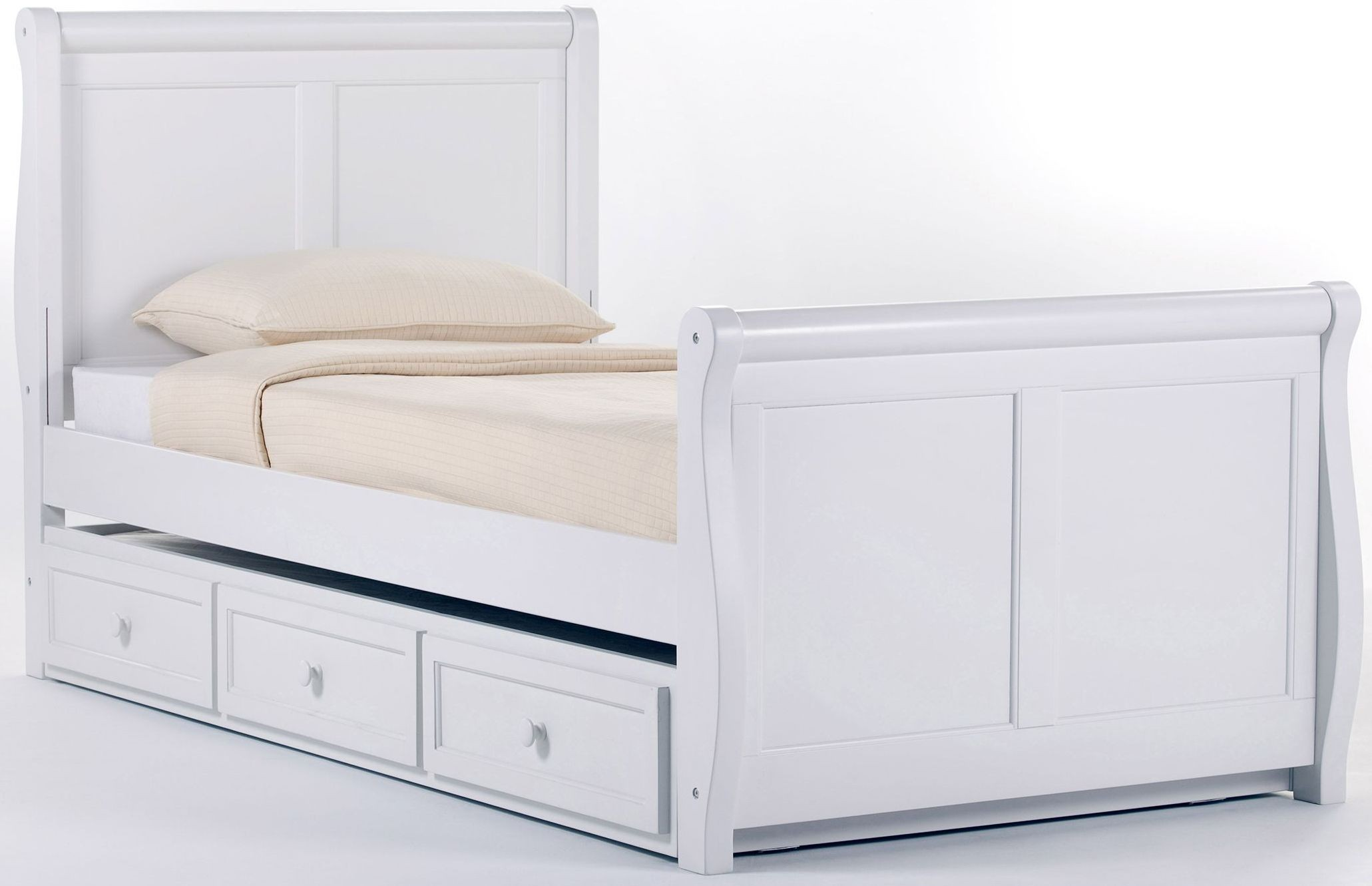 School house white twin sleigh bed with trundle 7050nt White twin trundle bedroom set