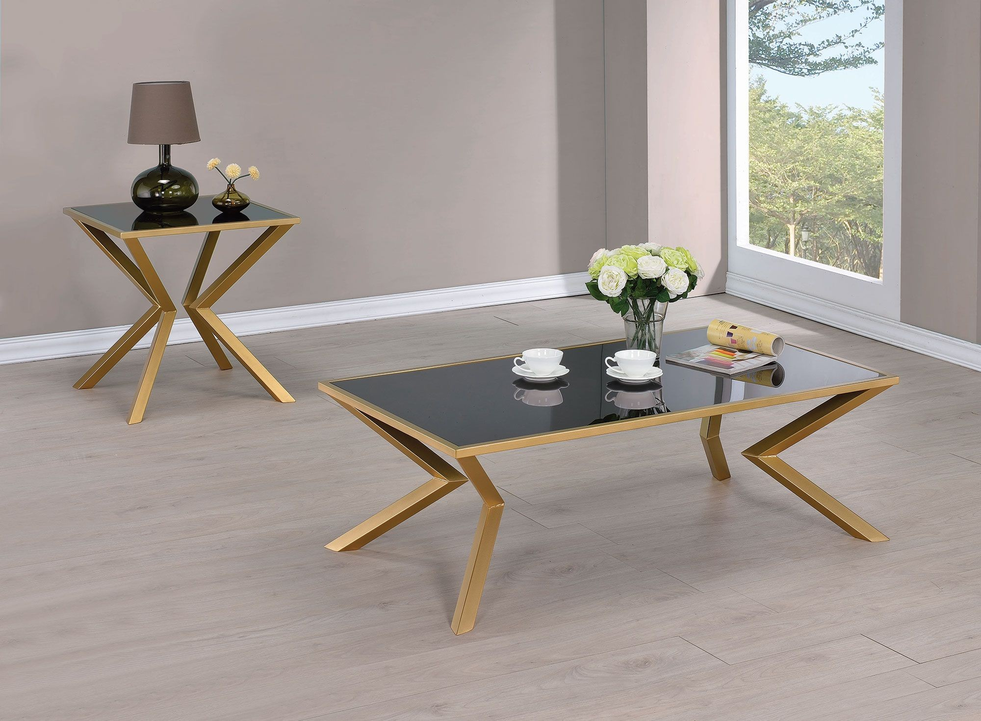 Black Glass And Brushed Brass Coffee Table 705188