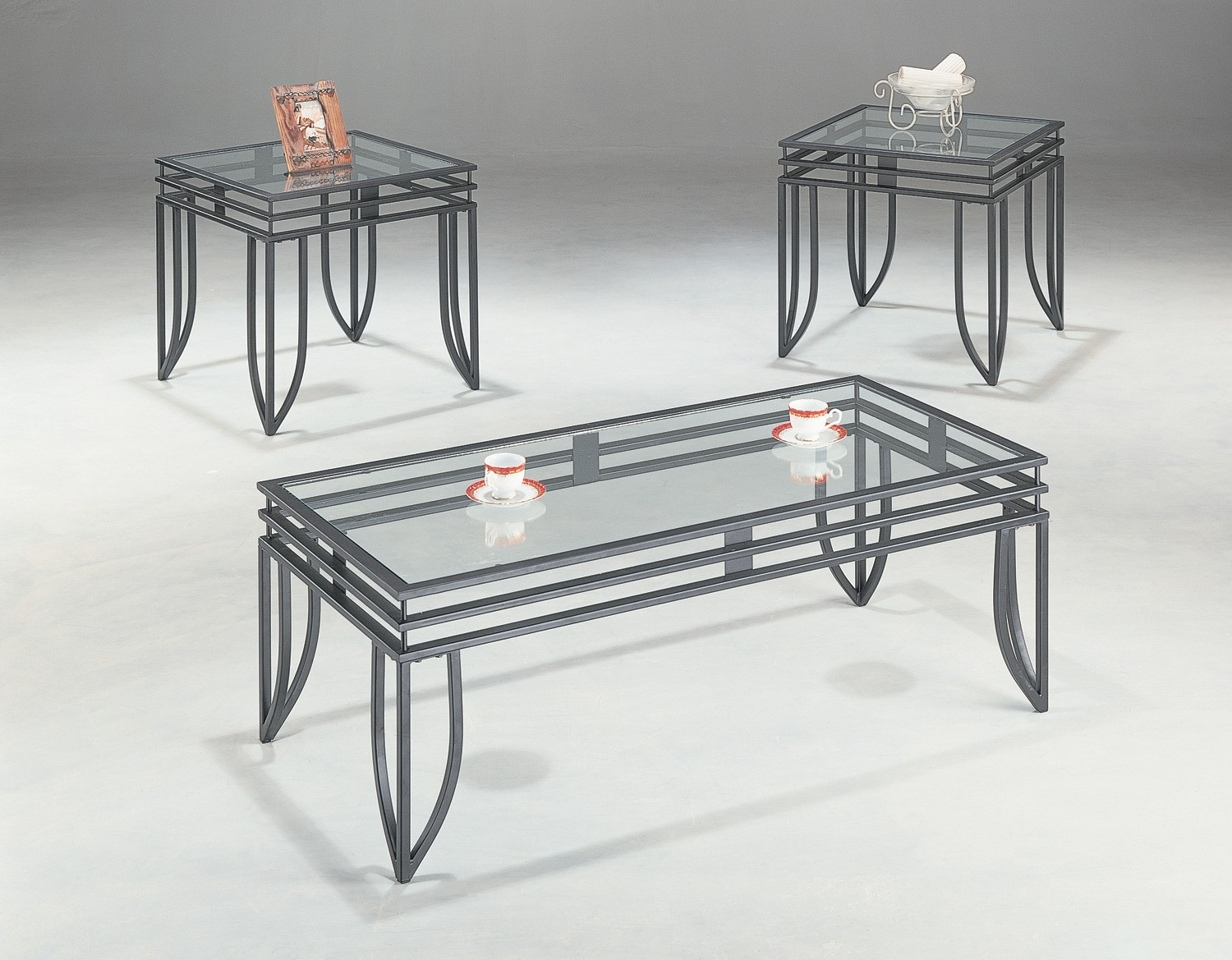3 piece black matrix design occasional table set with for Glass top occasional tables