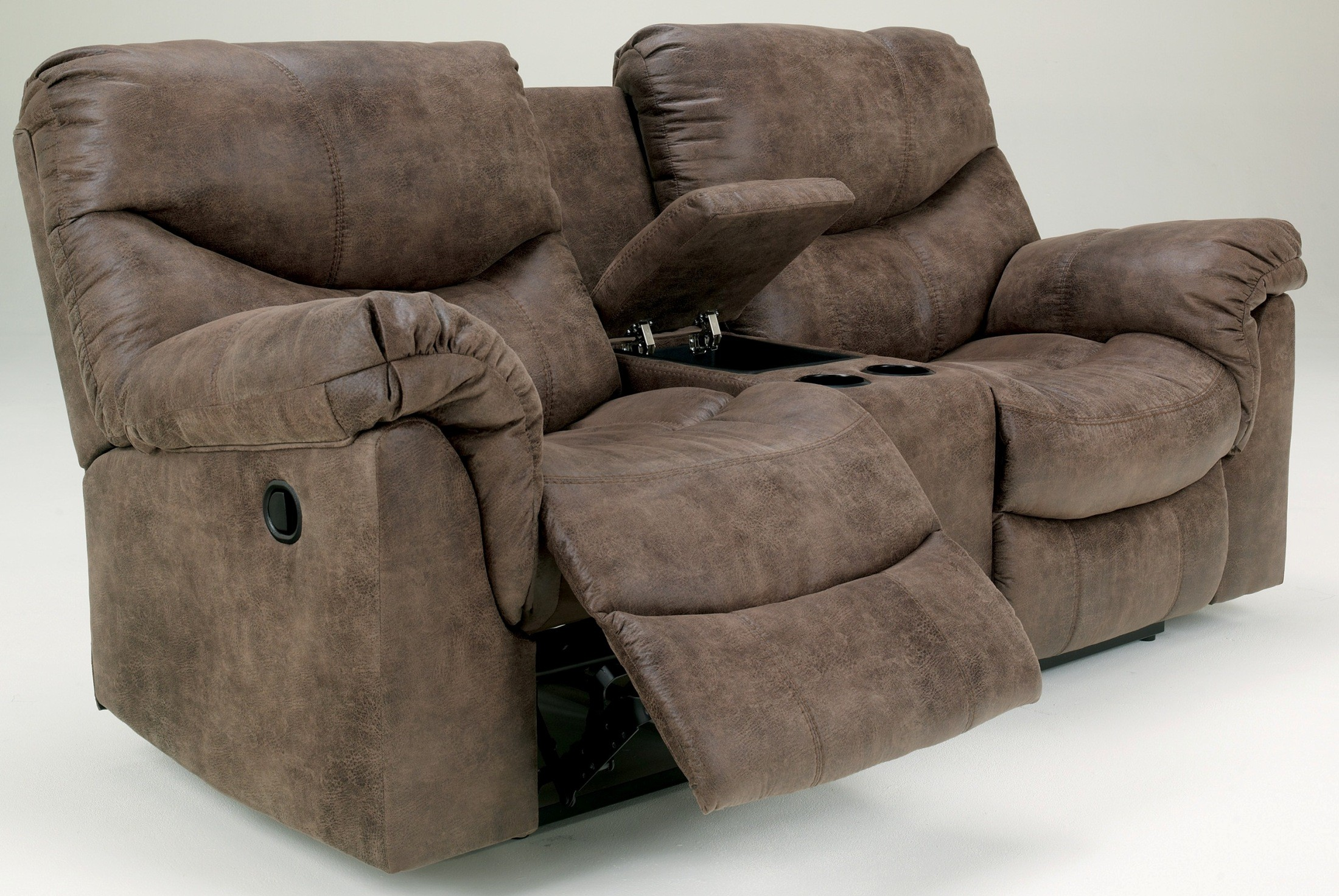 Alzena double power reclining loveseat with console from ashley 7140096 coleman furniture Power loveseat recliner