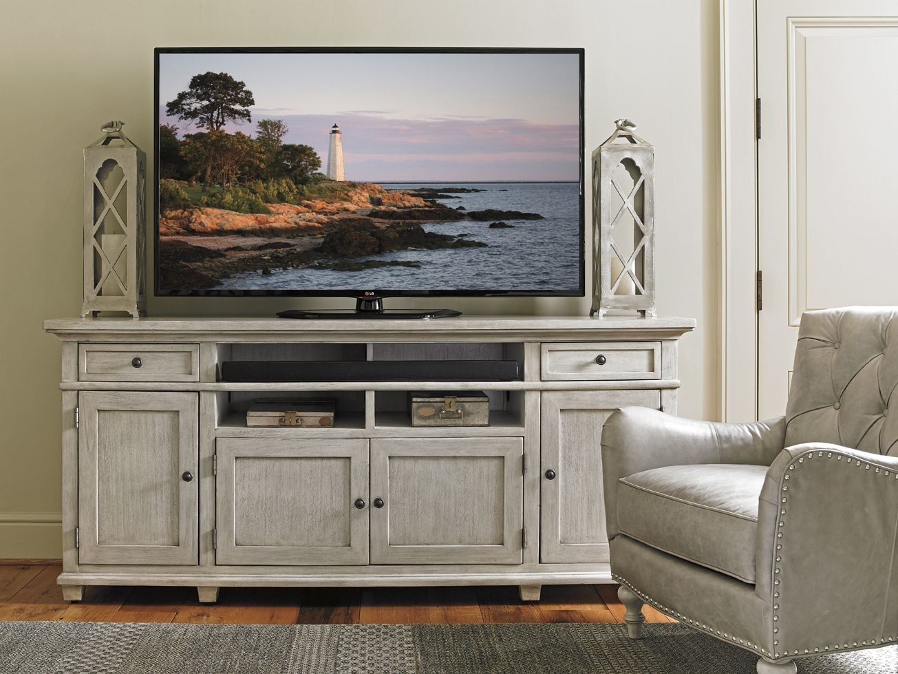 Oyster Bay Kings Point Large Media Console From Lexington 01 0714 908 Coleman Furniture