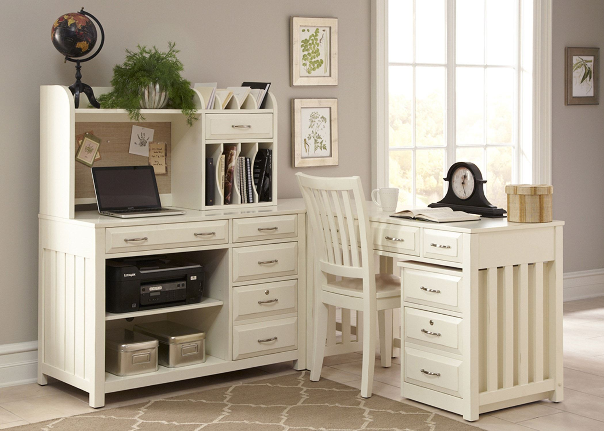 Hampton bay white home office set from liberty coleman furniture - Home office furniture set ...